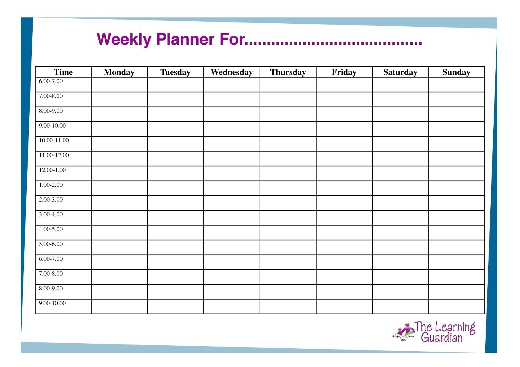 7 Day Weekly Planner Template Printable – Template Calendar  Planners 7 Days Printable