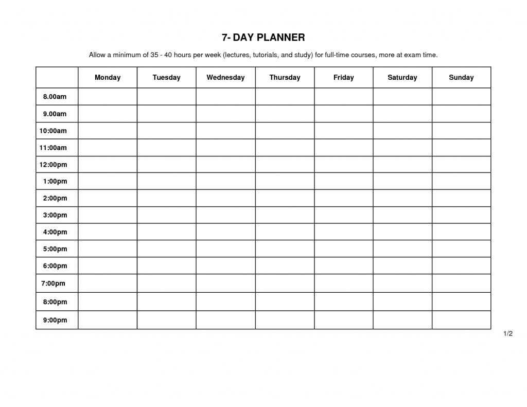 7 Day Weekly Planner Template | Weekly Calendar Template  Planners 7 Days Printable