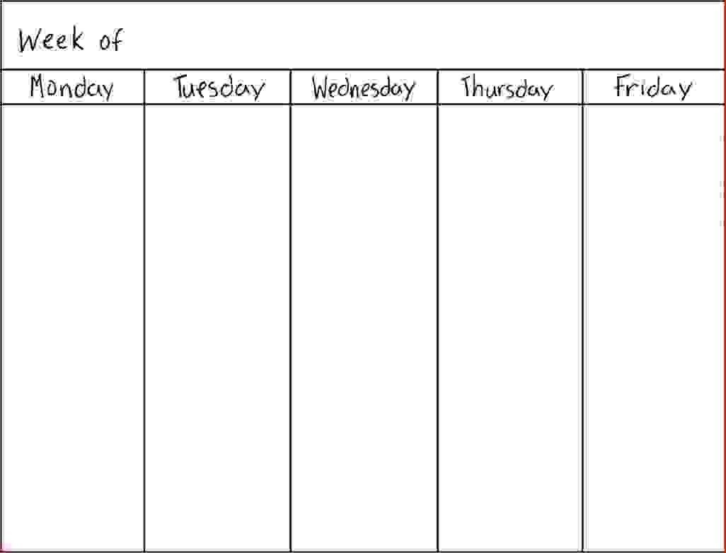 7 Day Weekly Schedule Template Physicminimalisticsco 7 Day  7 Day Week Planner Printable