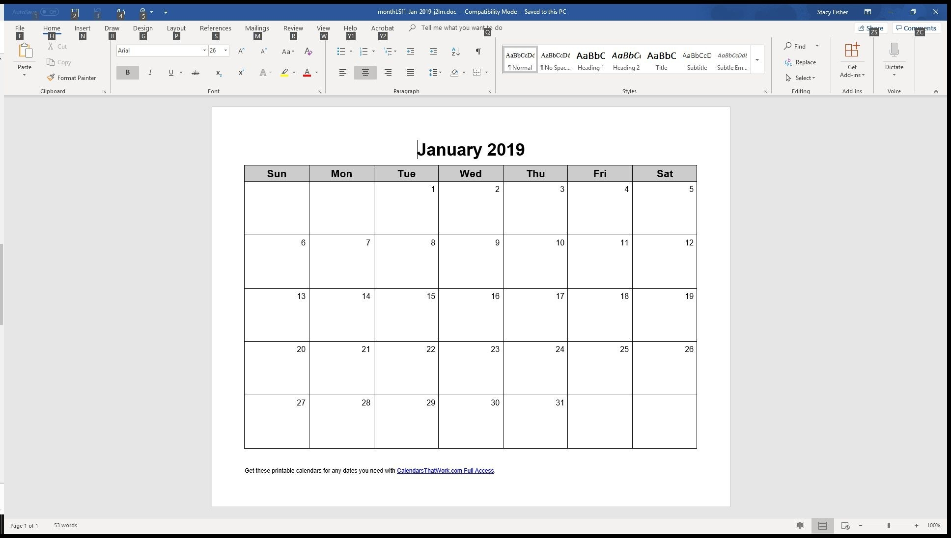 7 Top Place To Find Free Calendar Templates For Word  Windows 7 Word Horizontal Calendar Template
