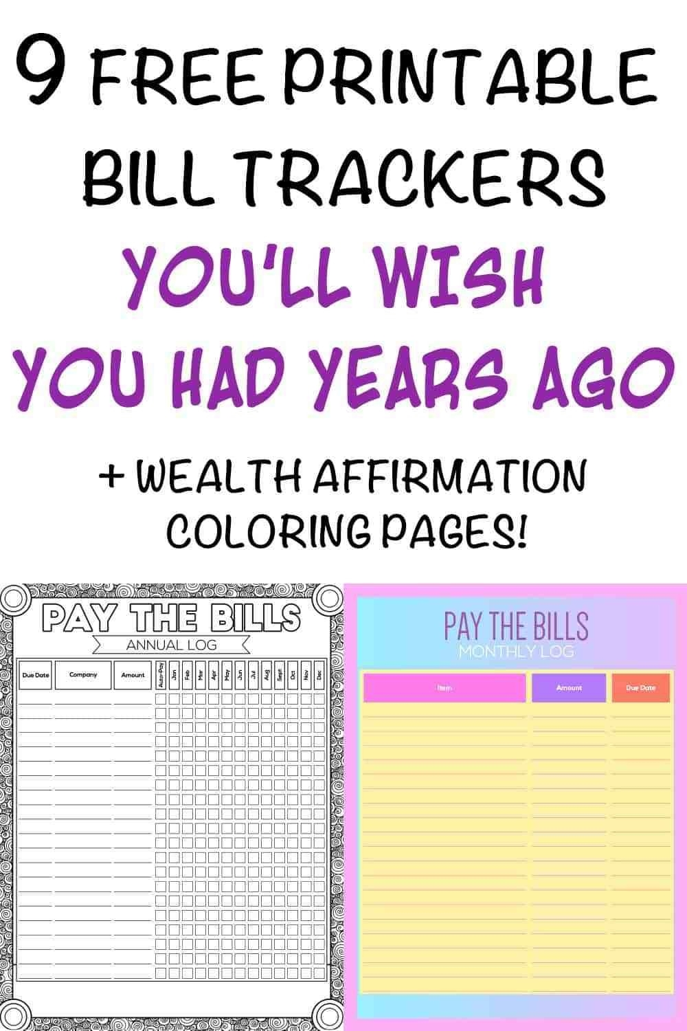 9+ Printable Bill Payment Checklists And Bill Trackers - The  Free Printable Calendar Bill Pay