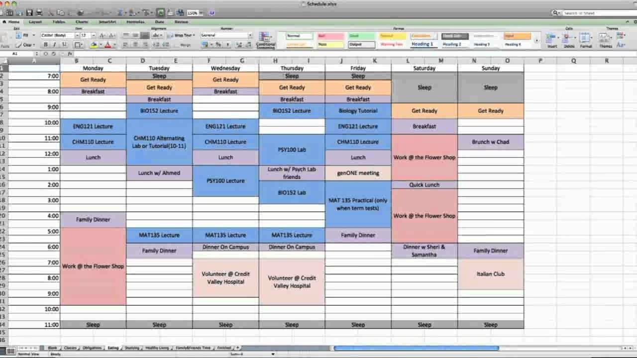 A One Series Production: How To Make A Weekly Calendar  Excel Calendar Week