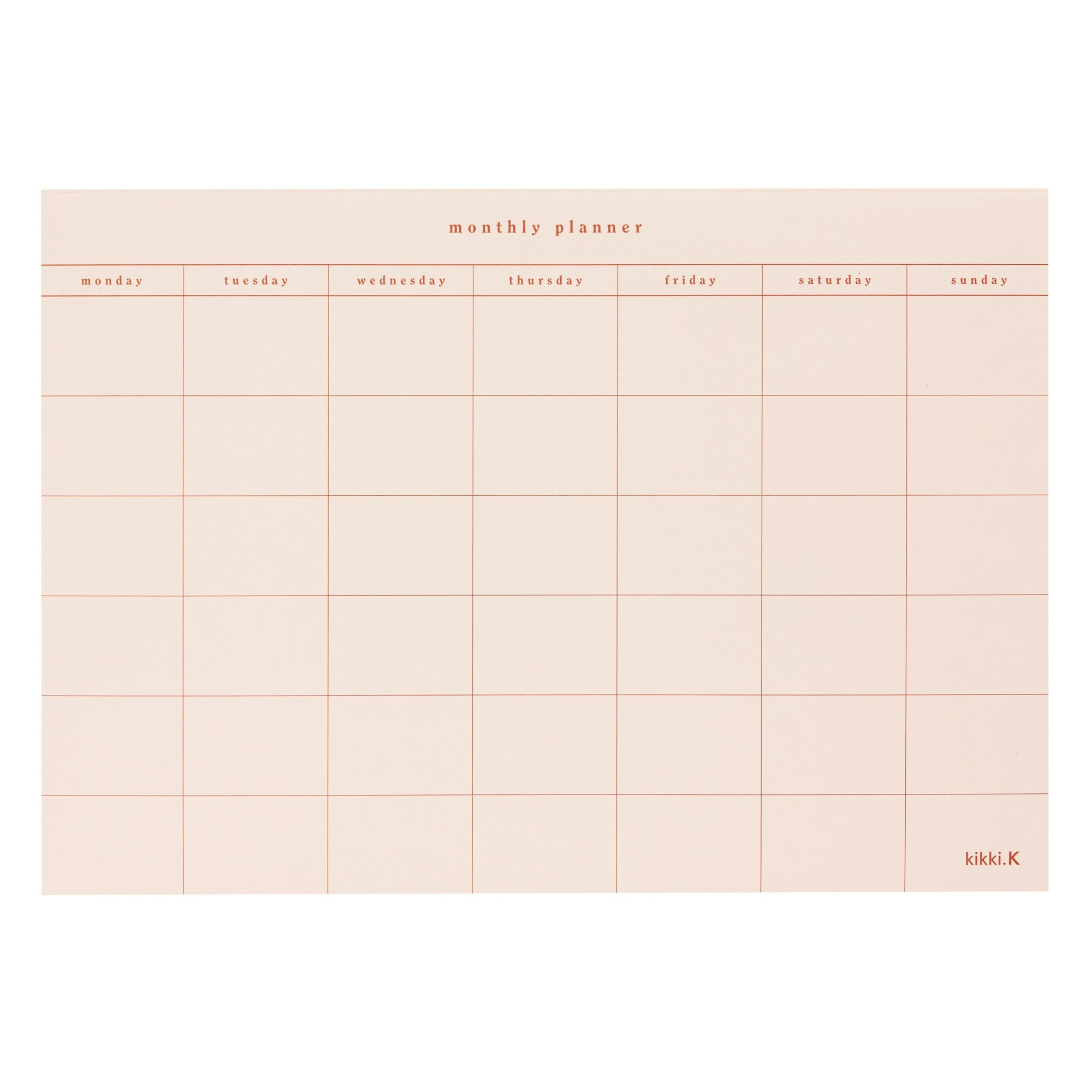 A4 Monthly Planner Pad Almond: Self  Monthly Planner