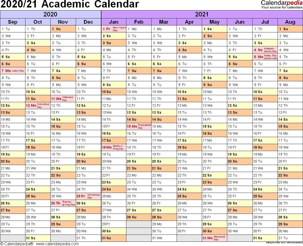 Academic Calendars 2020 2021 Free Printable Word Templates  Depo Calendar 2021 Double Sidede