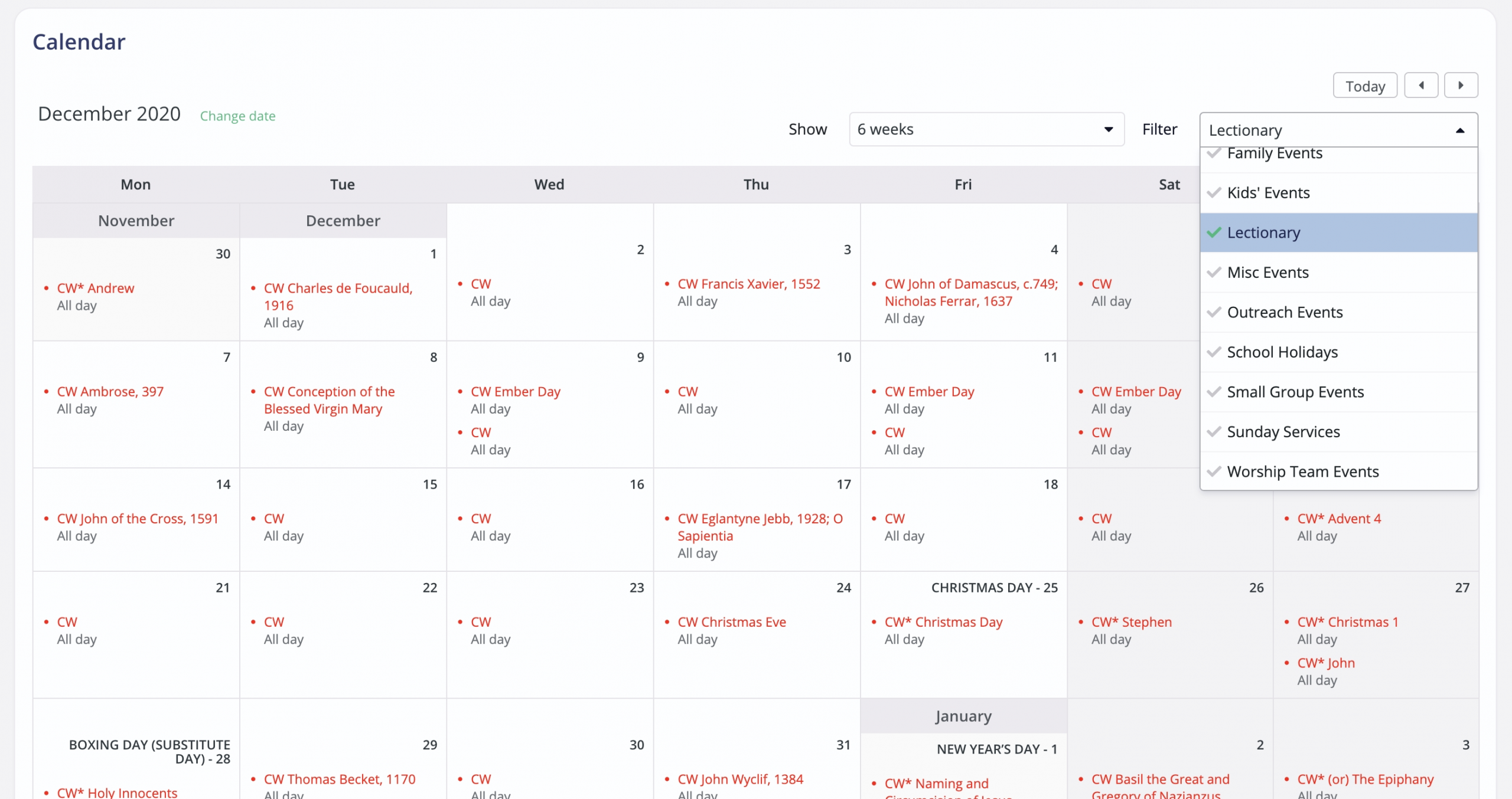 Adding The Common Worship Lectionary To Your Calendar  Lectionary Calendar