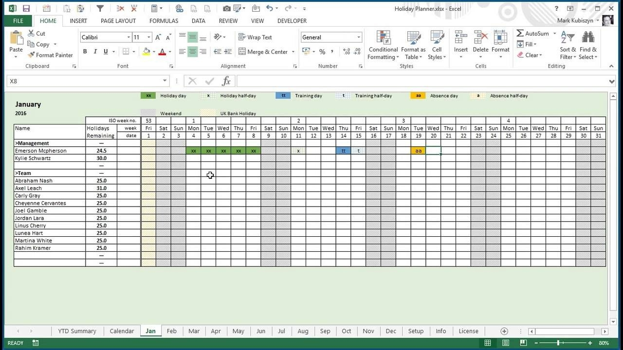 Any Year Holiday, Training & Absence Planner For Excel  Excel Yearly Planner