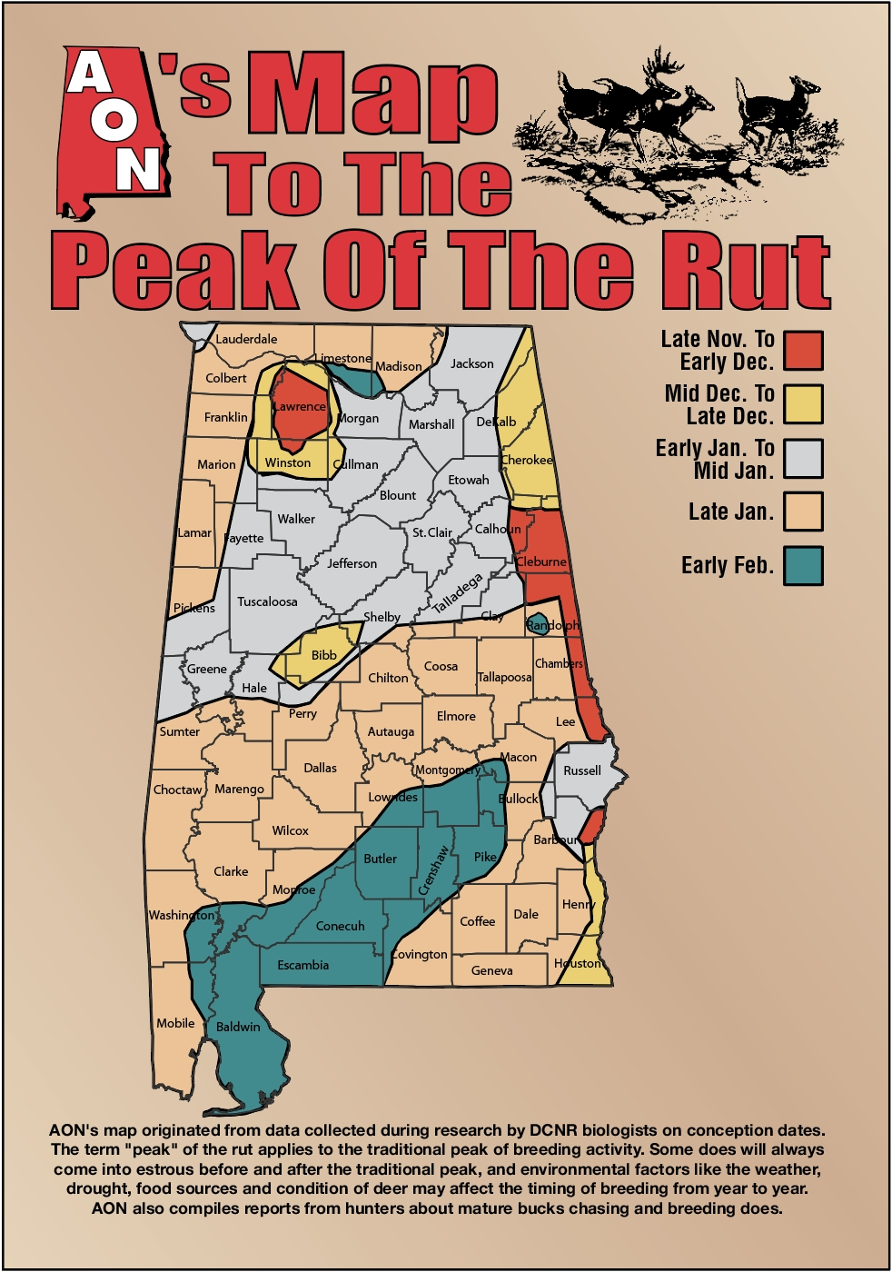 Aon'S Map To The Peak Of The Rut  Ga Deer Rut Dates By County