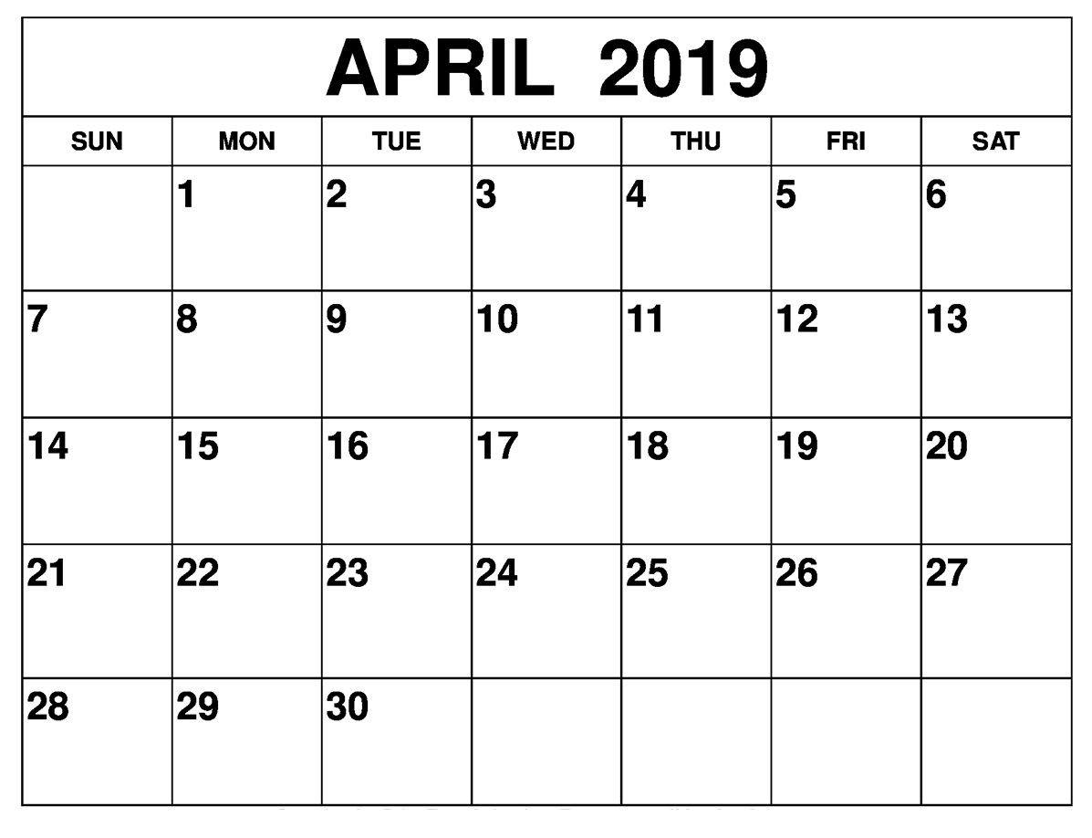 April 2019 Calendar Template Large Print | Editable Calendar  Large Monthly Calendar Template
