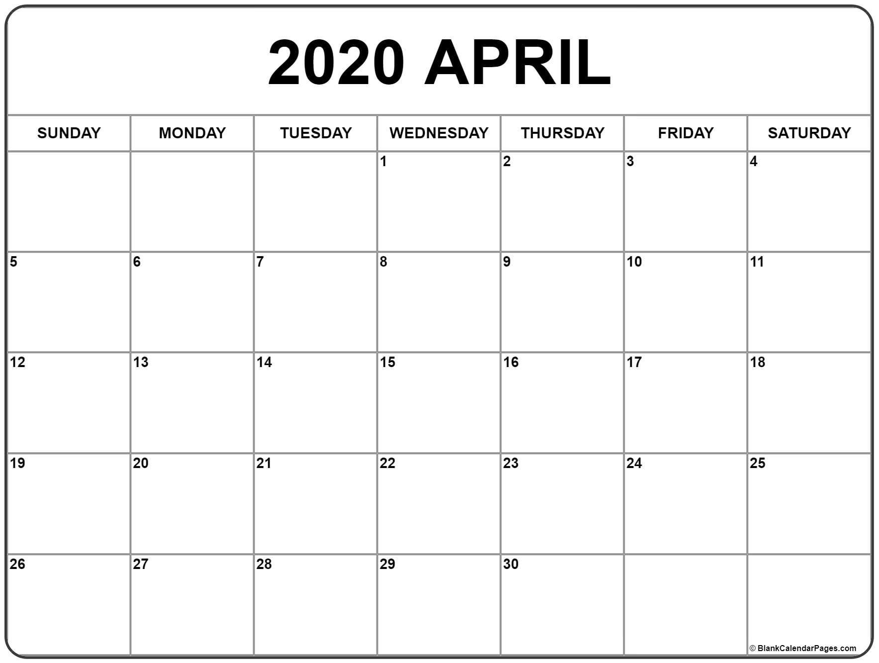 April 2020 Calendar | Free Printable Monthly Calendars  2020 Calendar Printable