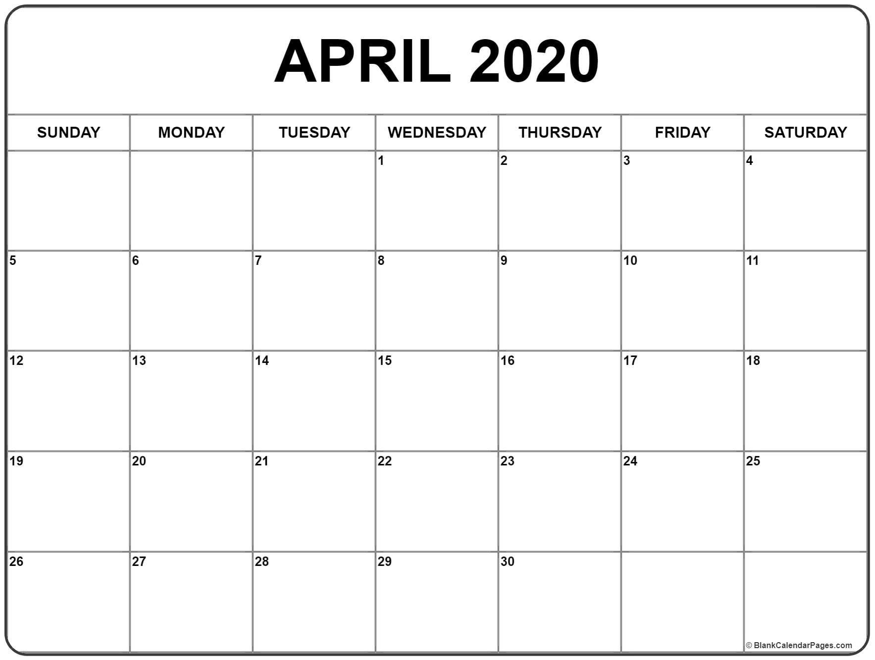 April 2020 Calendar | Free Printable Monthly Calendars  Full Page Blank Calendar