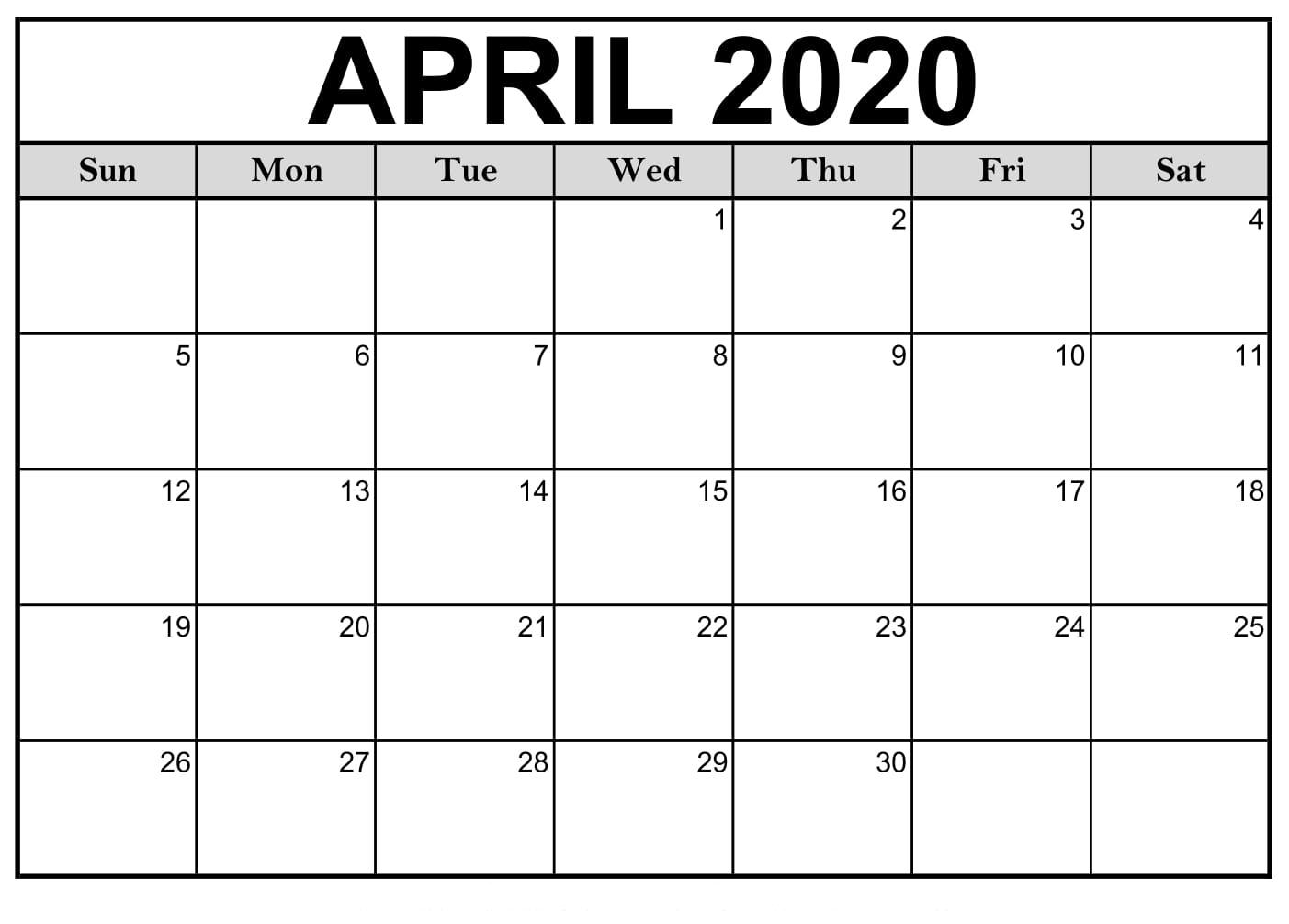 April 2020 Calendar Printable Monthly Calendar |Idea  Printable Monthly Calendar Templates
