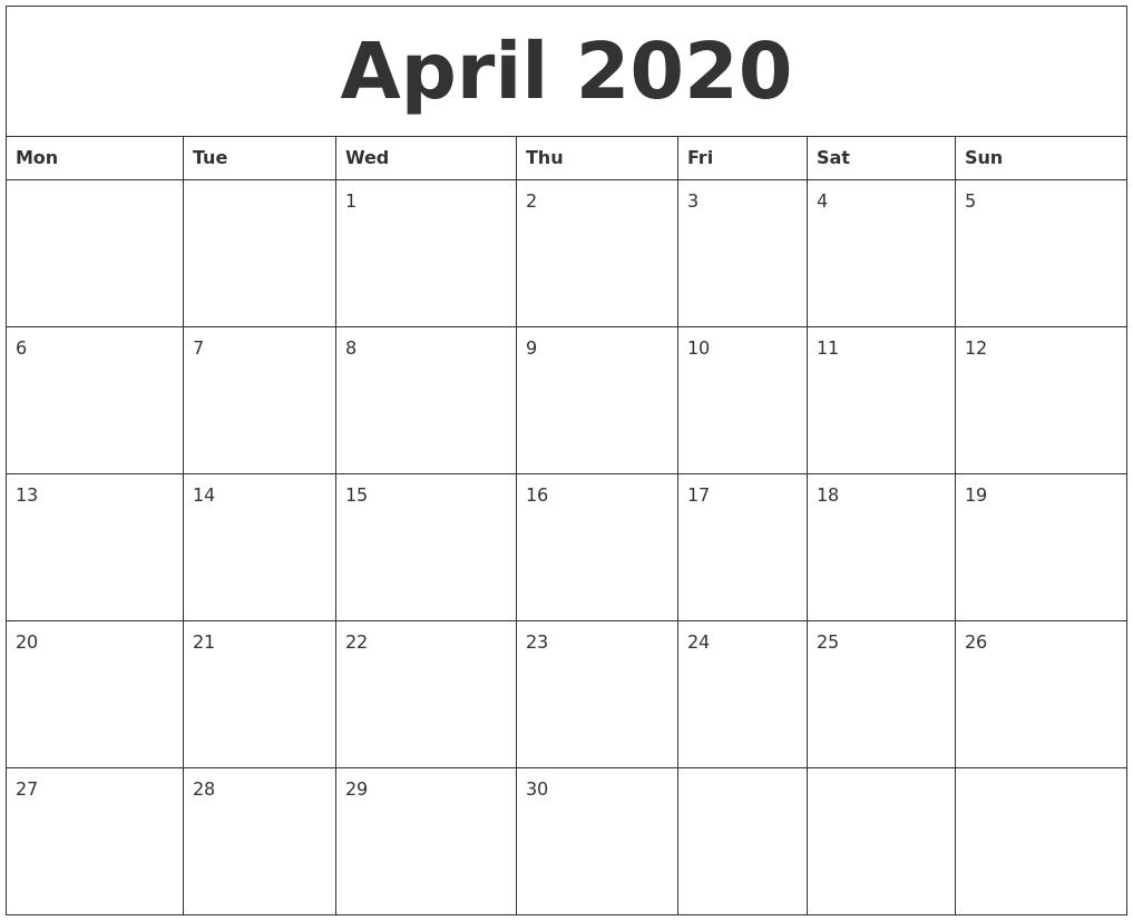 April 2020 Large Printable Calendar  Large Monthly Calendar Template