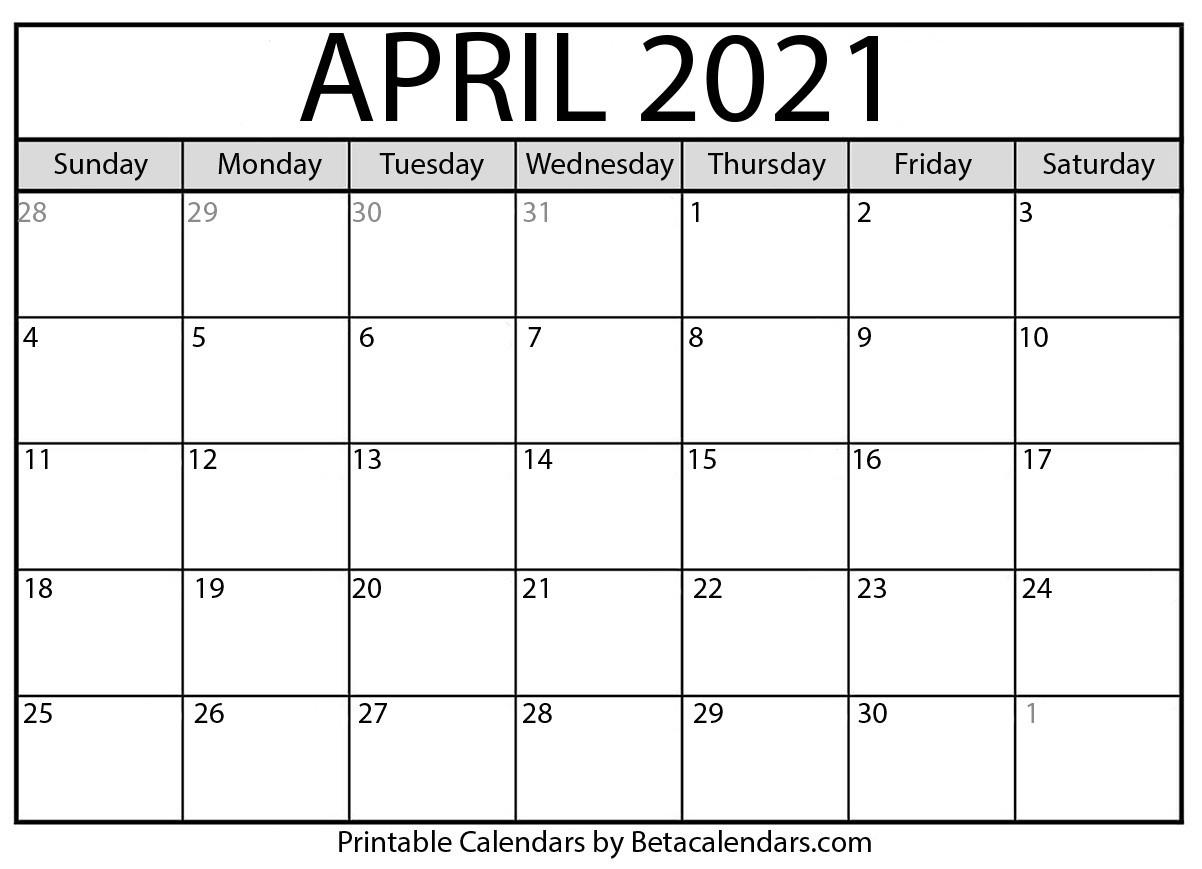 April 2021 Calendar | Blank Printable Monthly Calendars  Free Lenten Calendar 2021