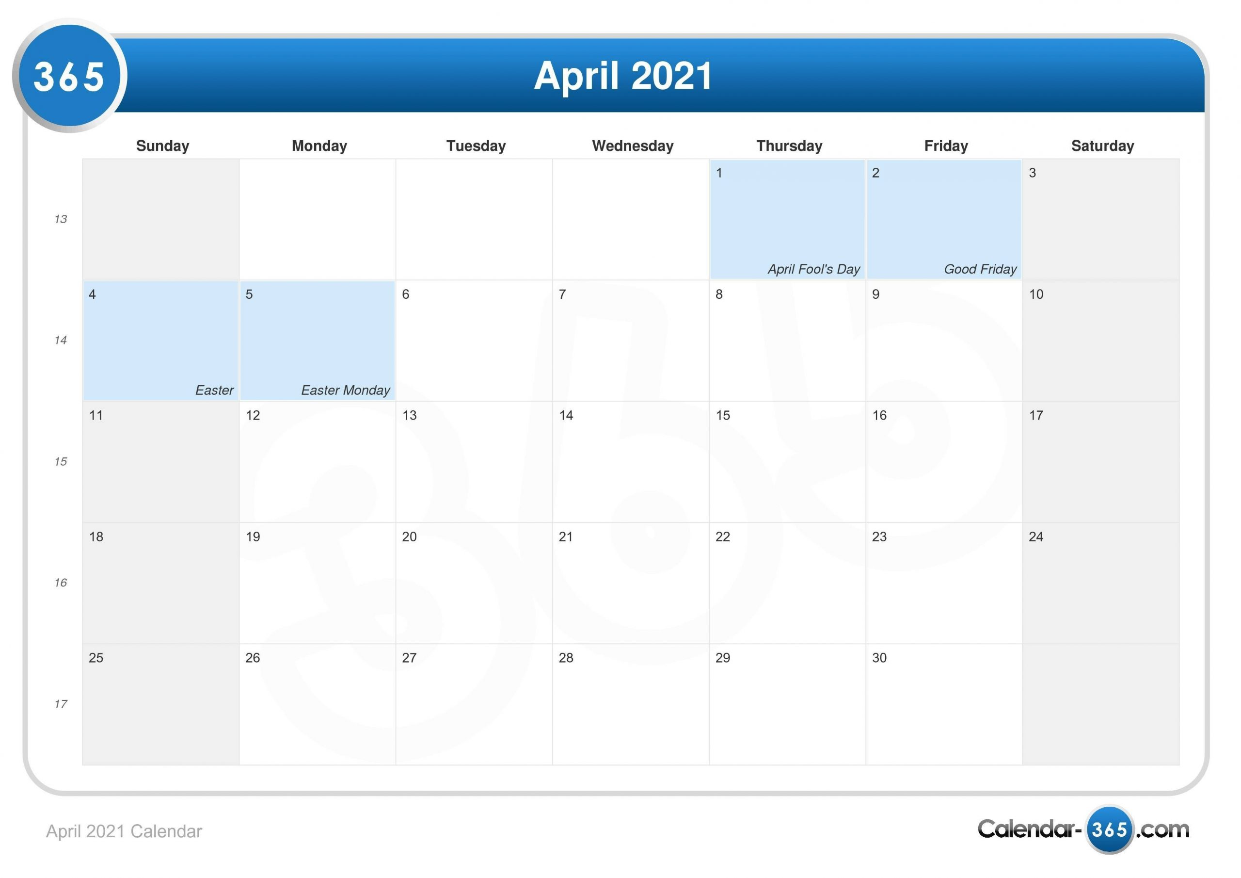 April 2021 Calendar  How Many Weeks In The 2021/19 Financial Year