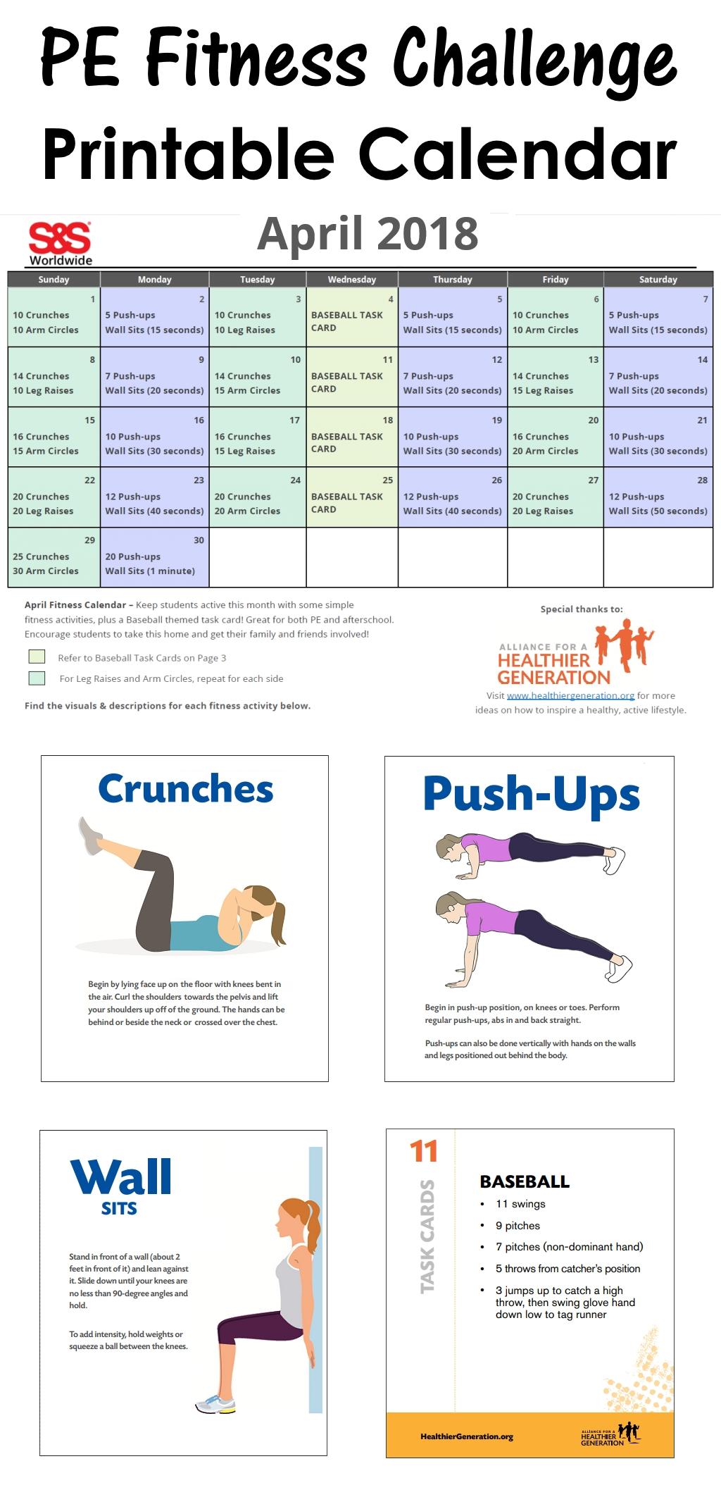 April Printable Fitness Challenge Calendar - S&S Blog In  Fitness Challenges Worksheet