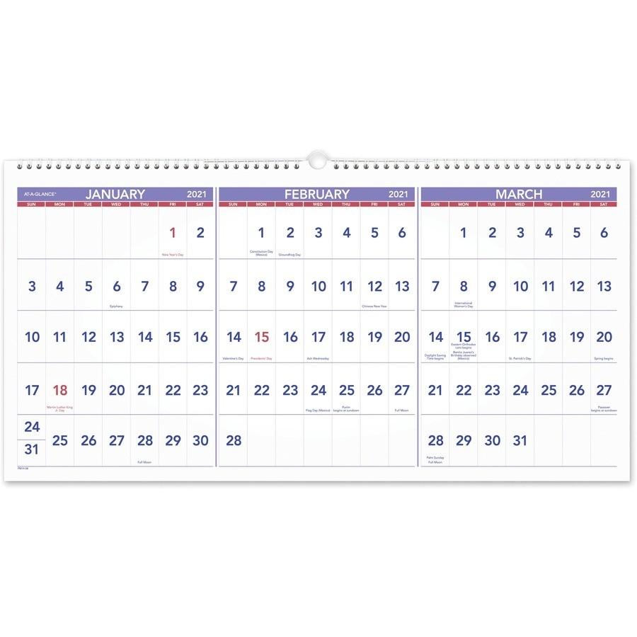 At-A-Glance 3-Month Horizontal Wall Calendar - Julian Dates  Military Julian Date Calendar 2021
