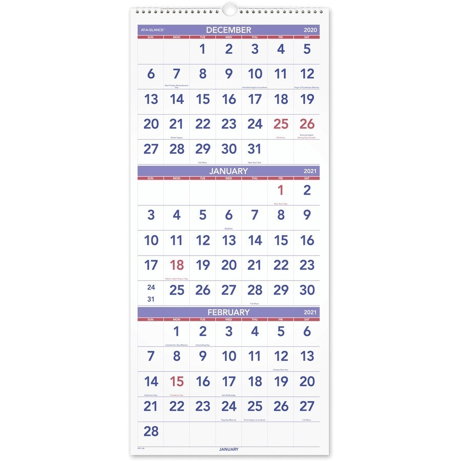At-A-Glance 3 Month Reference Wall Calendar - Monthly - 1.2  Military Calendar 2021, With Julian Day