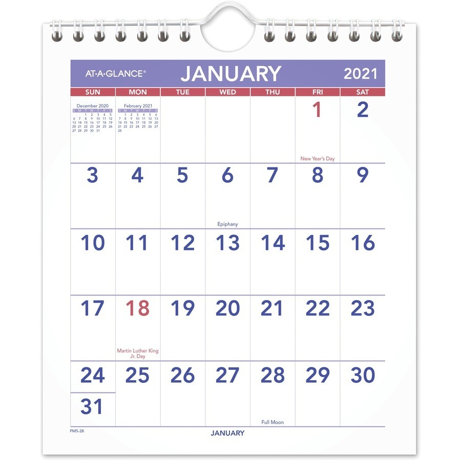 """At-A-Glance Mini Wall/Desk Monthly Calendar - Julian Dates - Monthly - 1  Year - January 2021 Till December 2021 - 1 Month Single Page Layout - 6  1/2""""  Military Julian Date Calendar 2021"""