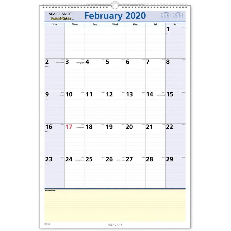 At-A-Glance Quicknotes Monthly Wall Calendar - Julian Dates  Military Julian Date Calendar 2021