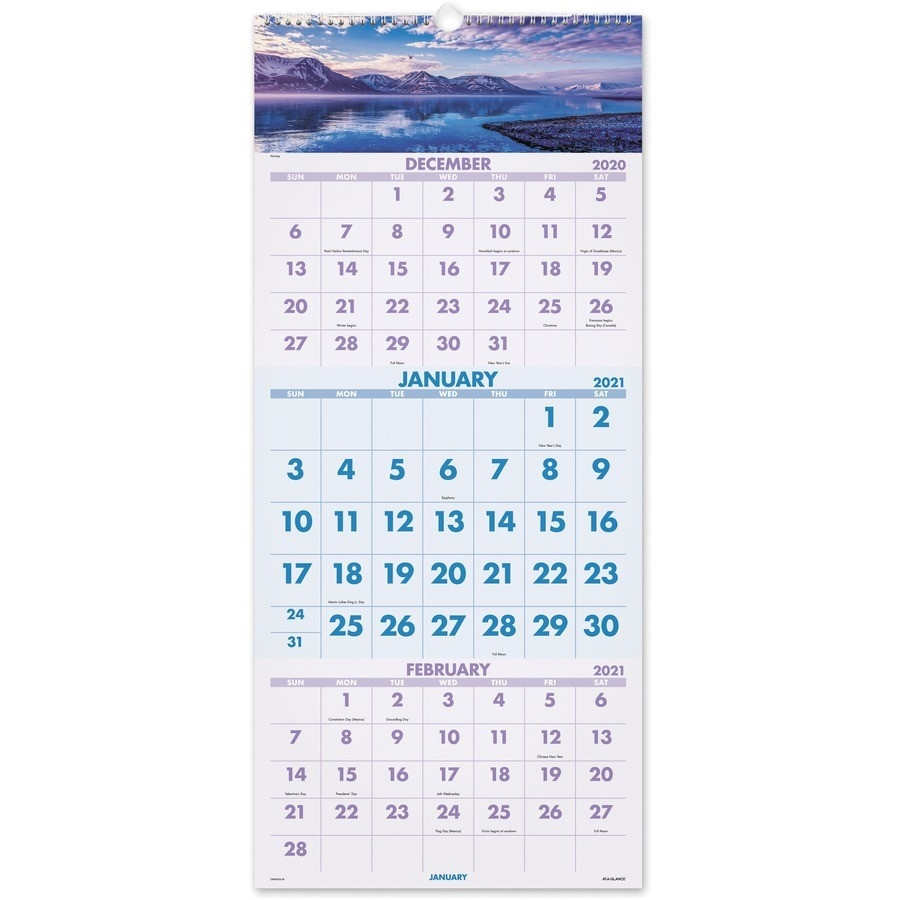 At-A-Glance Scenic Design 3-Month Wall Calendar - Julian  Military Calendar 2021, With Julian Day