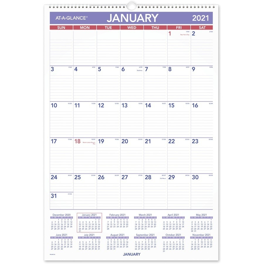 At-A-Glance Write-On/Wipe-Off Laminated Monthly Wall  Military Julian Date Calendar 2021