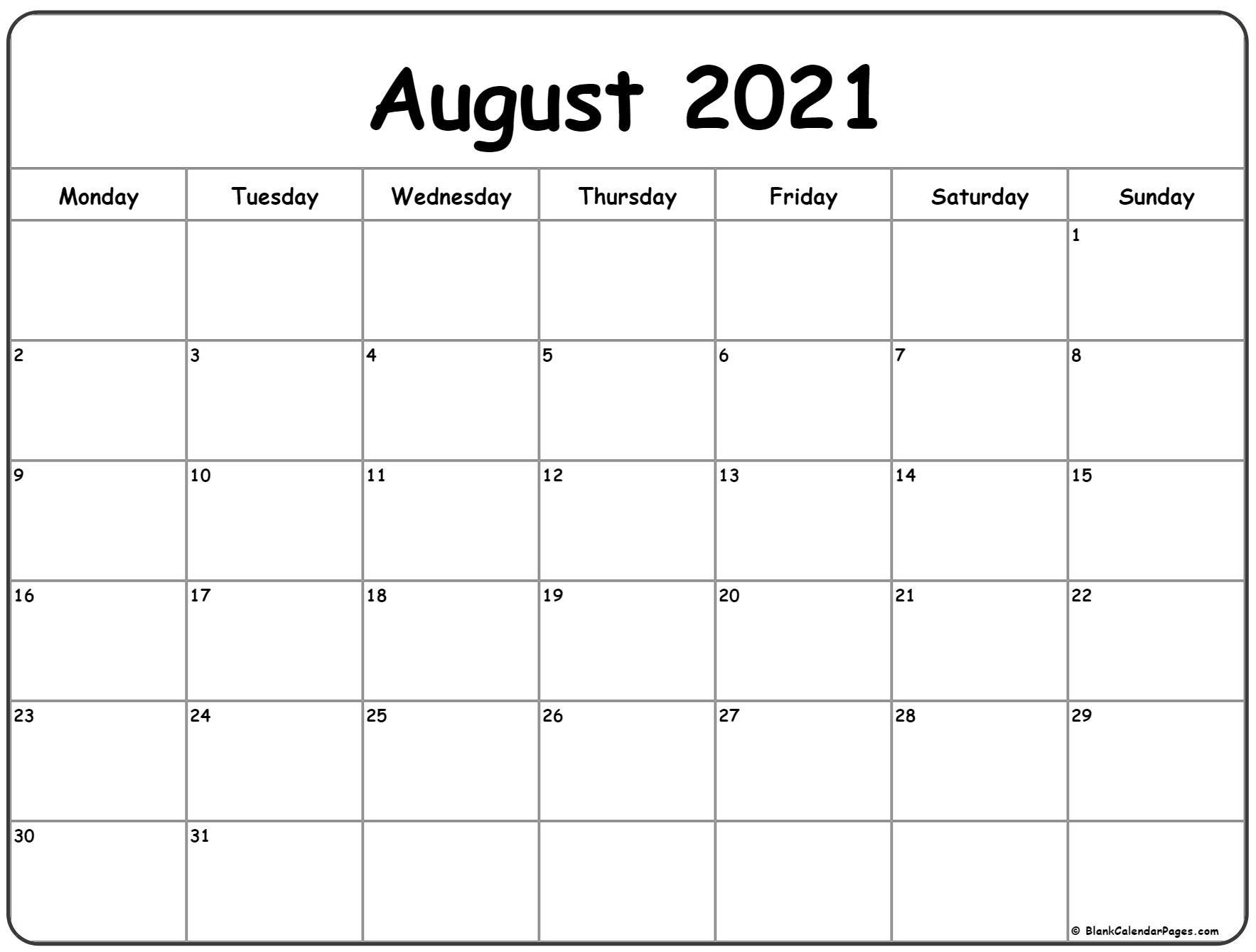 August 2021 Monday Calendar | Monday To Sunday  Calendar 2021 August To December