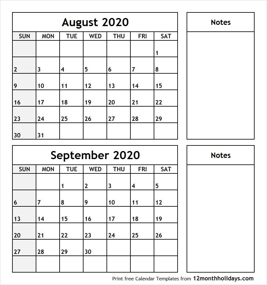 August And September Calendar Printable In 2020 | September  Month Of August And September Calendar