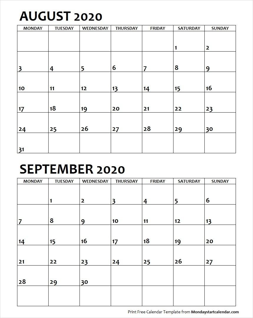 August September 2020 Calendar Monday Start | Two Months  Month Of August And September Calendar