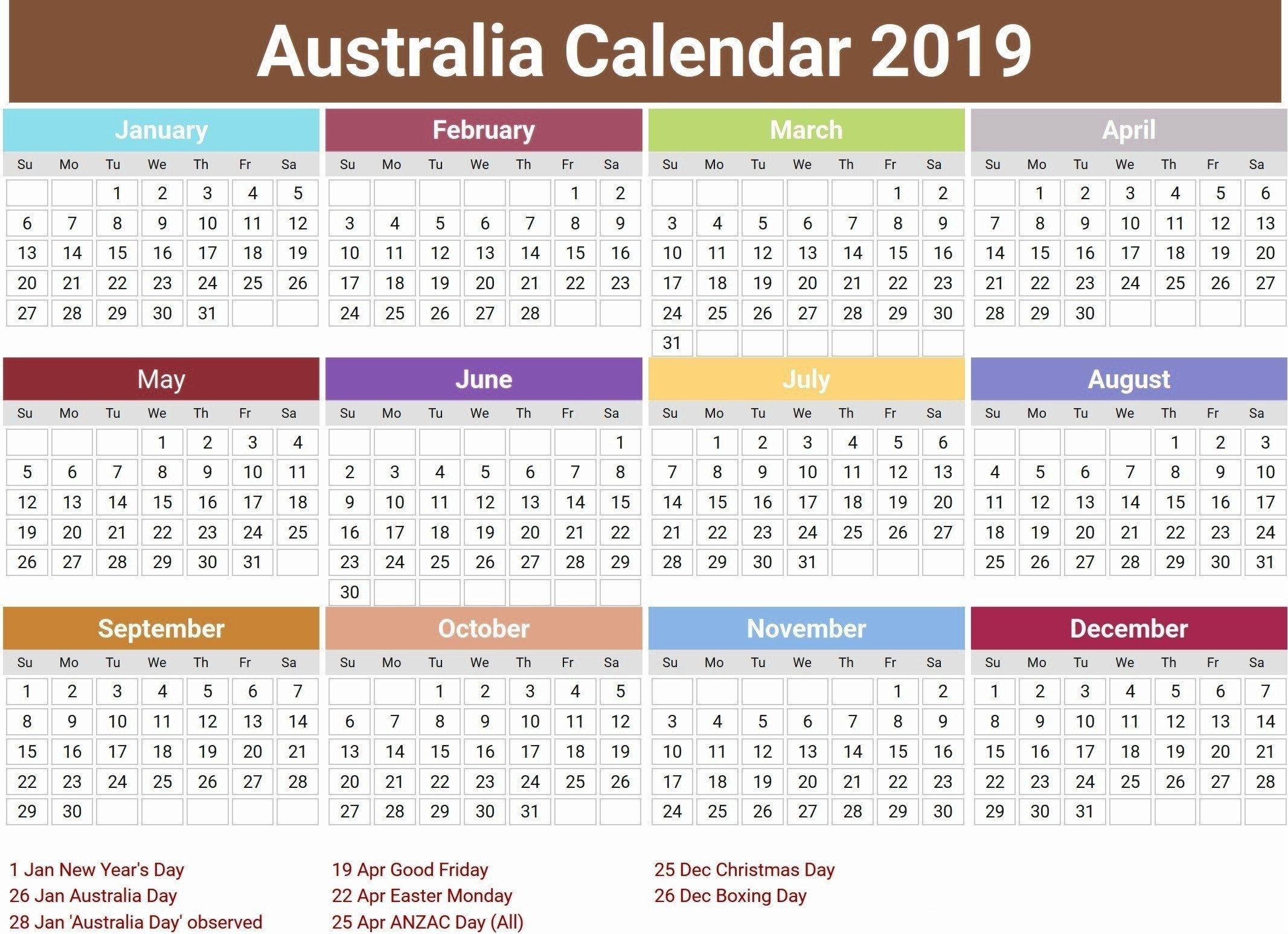 Australia 2019 Holidays Calendar #2019Calendar #2019Holidays  Yearly Calendars Australia
