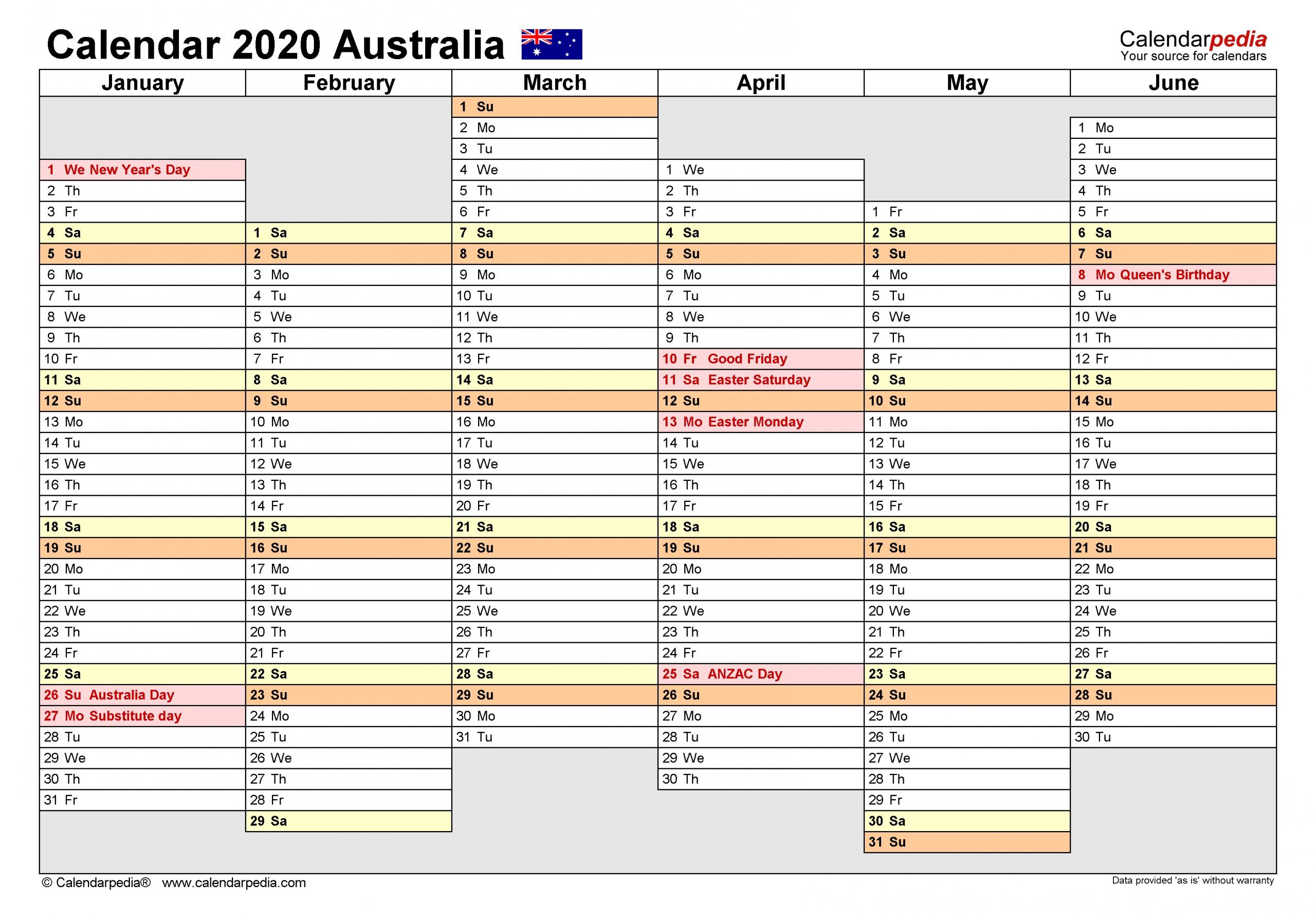 Australia Calendar 2020 - Free Printable Pdf Templates  Australian 20 20 Six Month Calendars Template