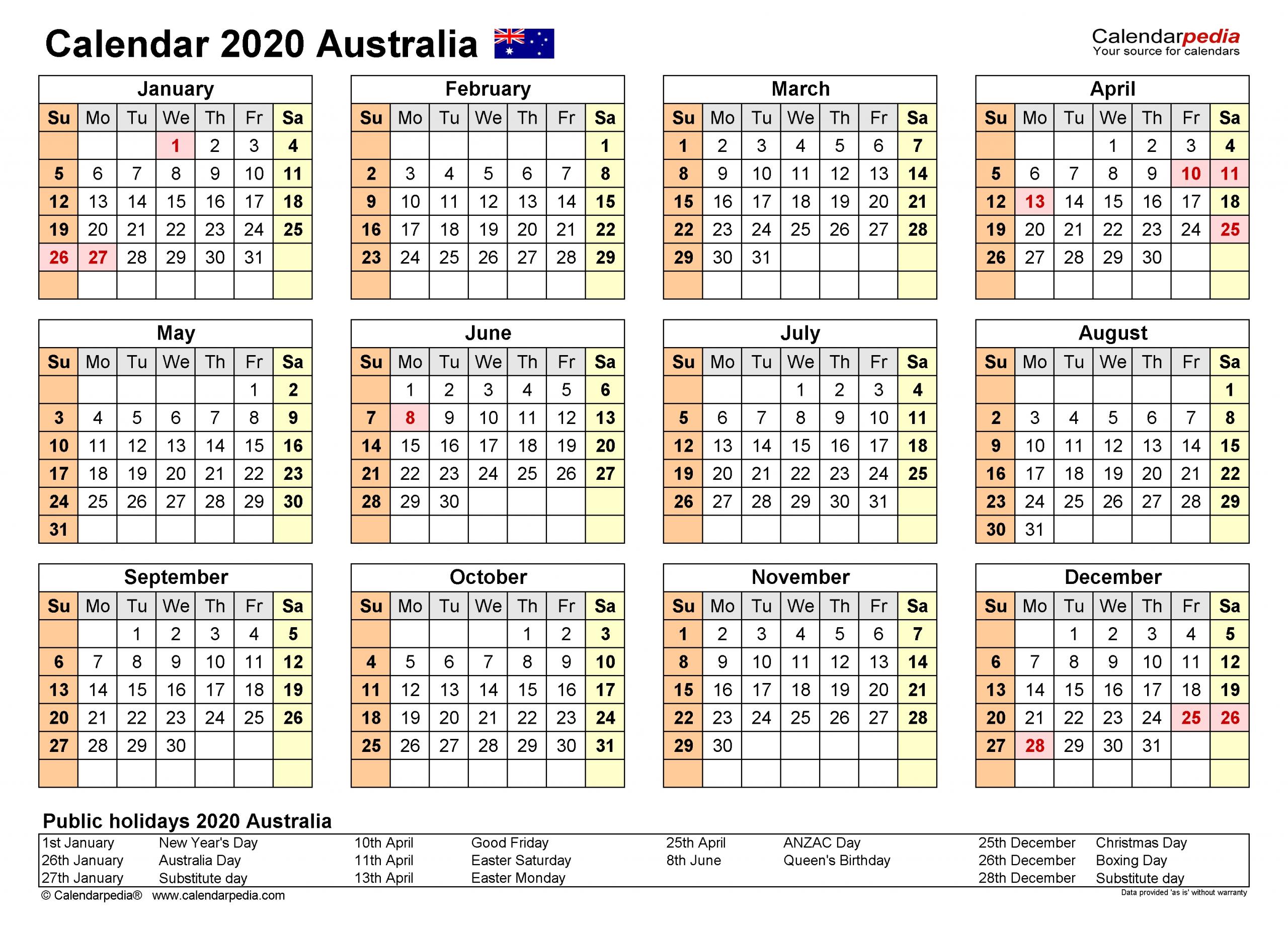 Australia Calendar 2020 - Free Printable Pdf Templates  Australian 2020 Financial Year Calendar