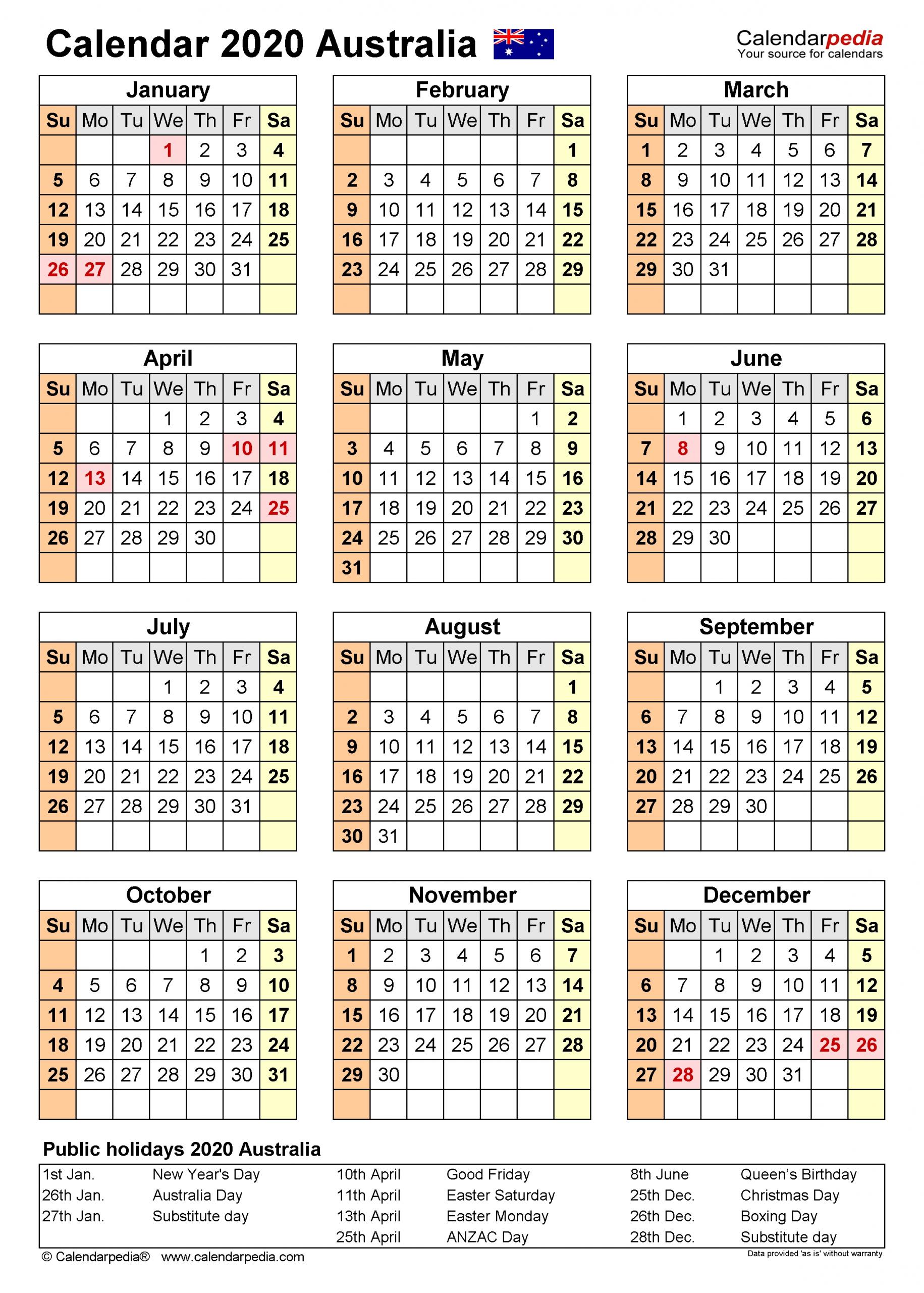 Australia Calendar 2020 - Free Printable Pdf Templates  Financial Years Dates Australia