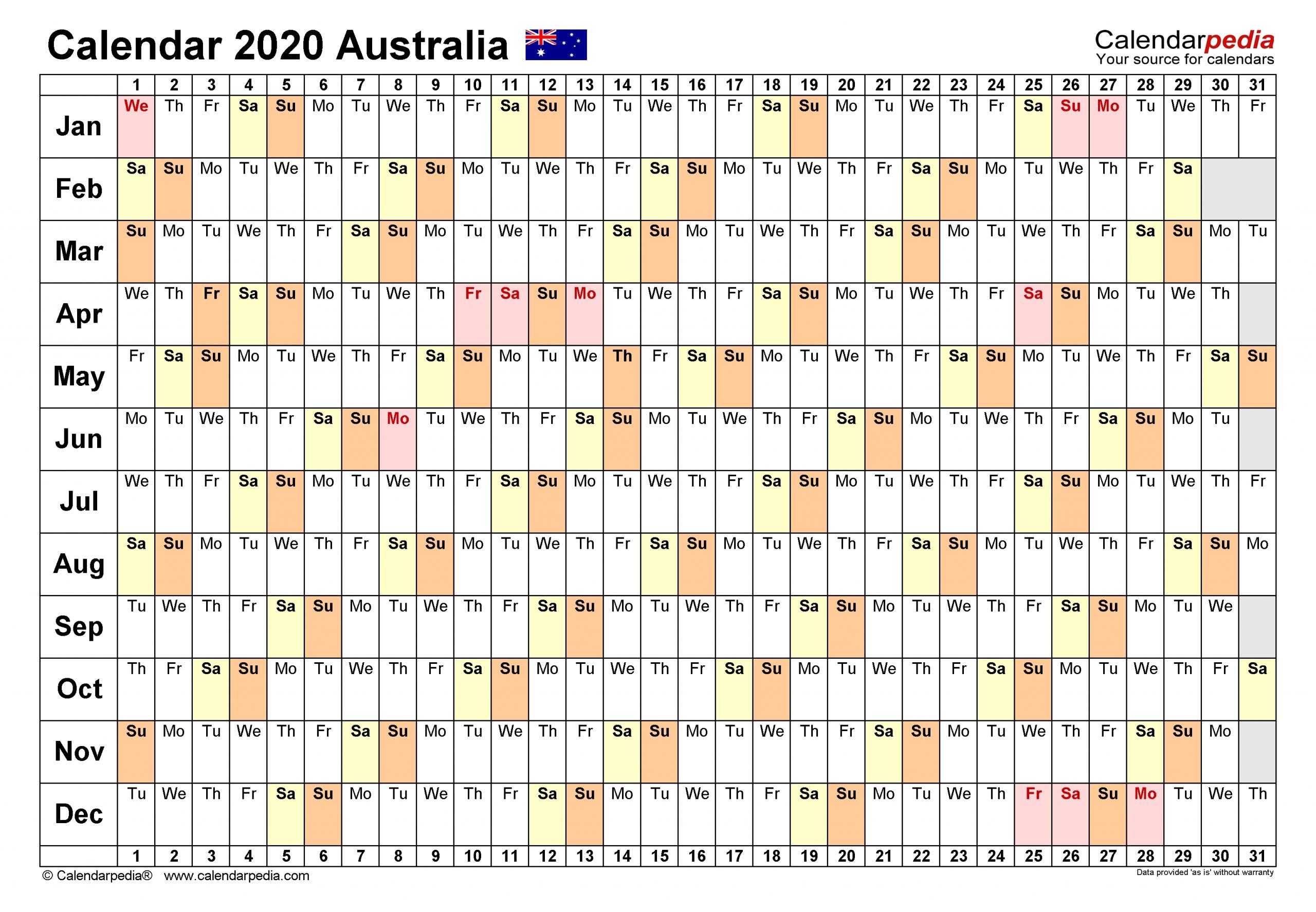 Australia Calendar 2020 - Free Printable Pdf Templates  Last Financial Year Australia