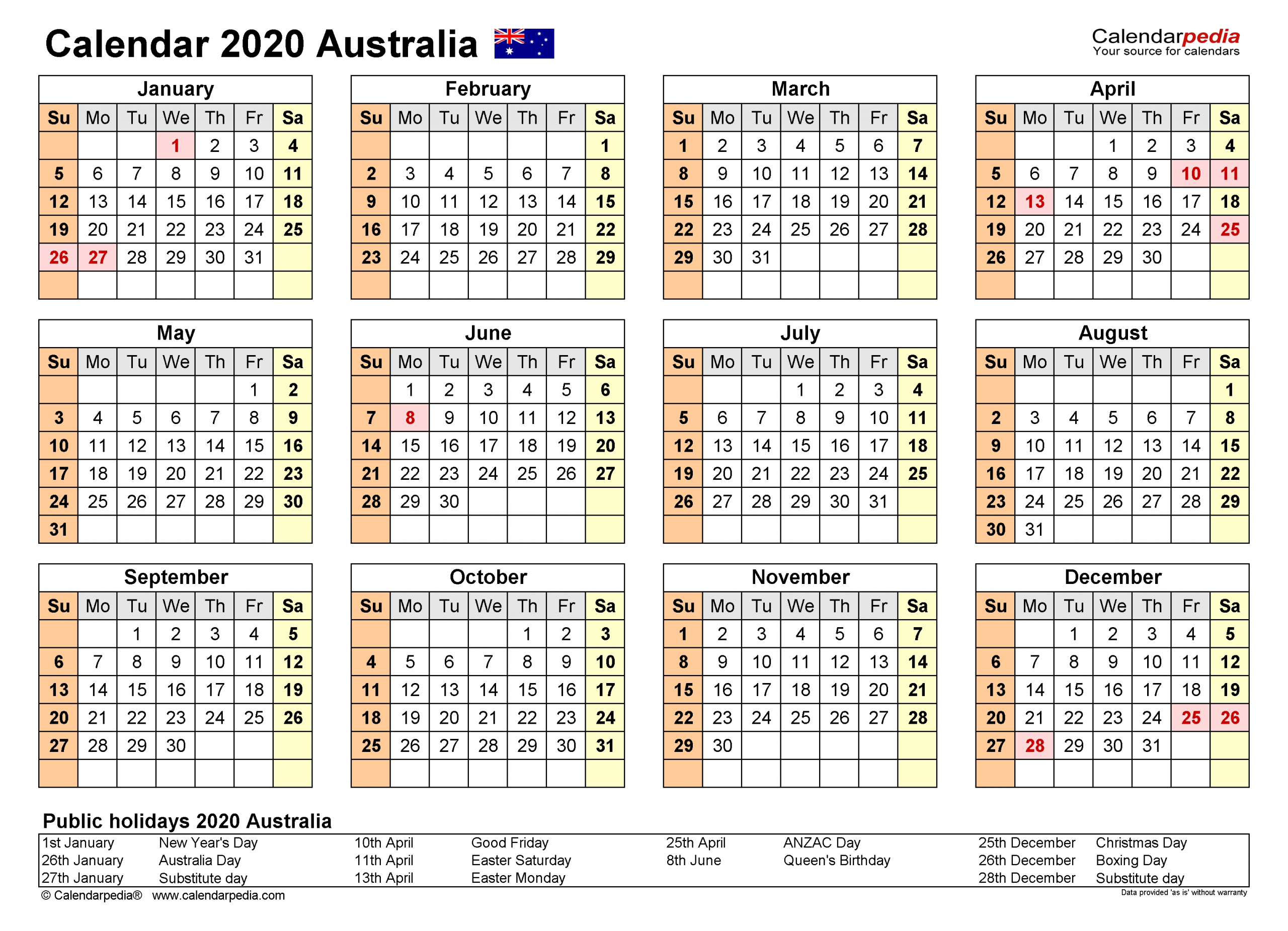 Australia Calendar 2020 - Free Printable Pdf Templates  Yearly Calendars Australia
