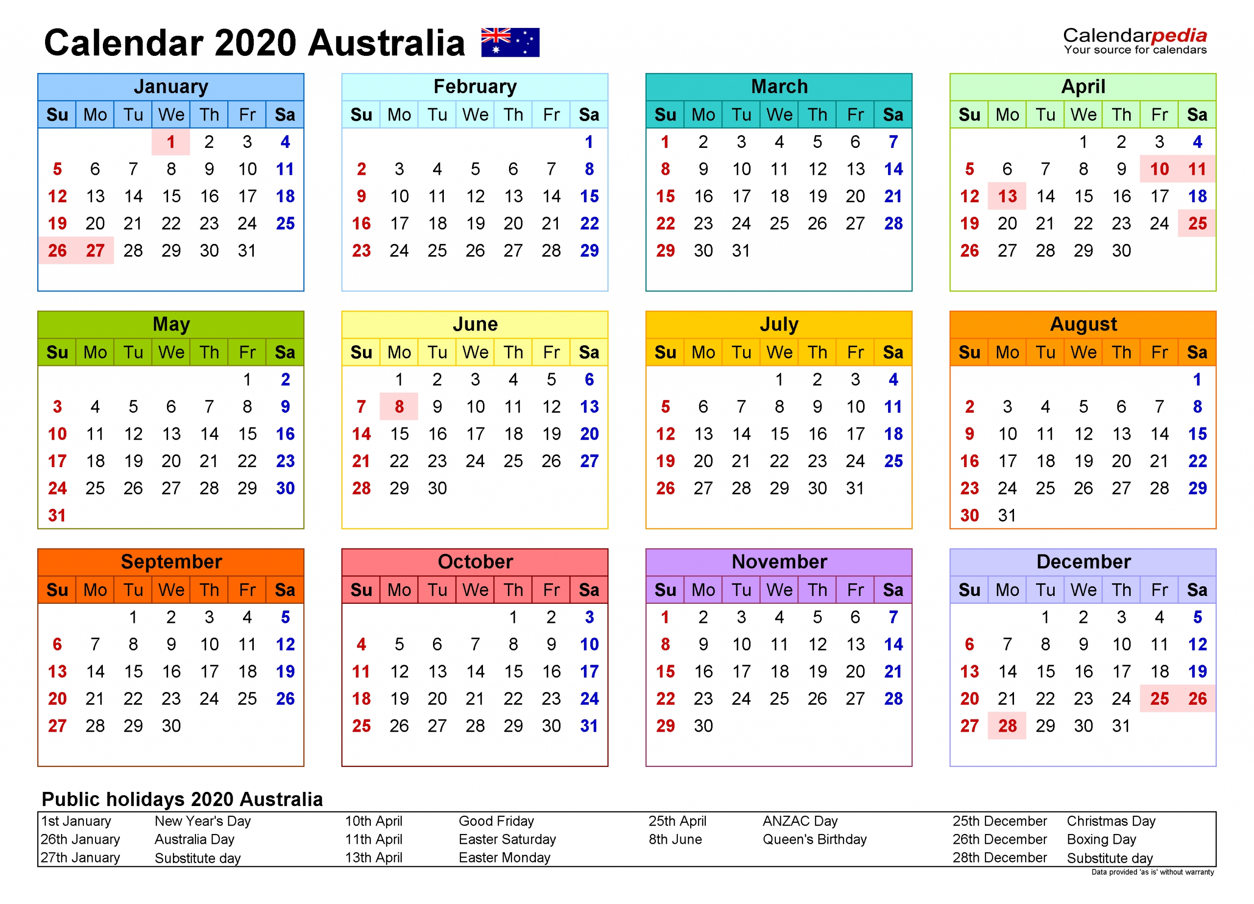 Australia Calendar 2020 - Free Printable Pdf Templates  Yearly Calendars Australia