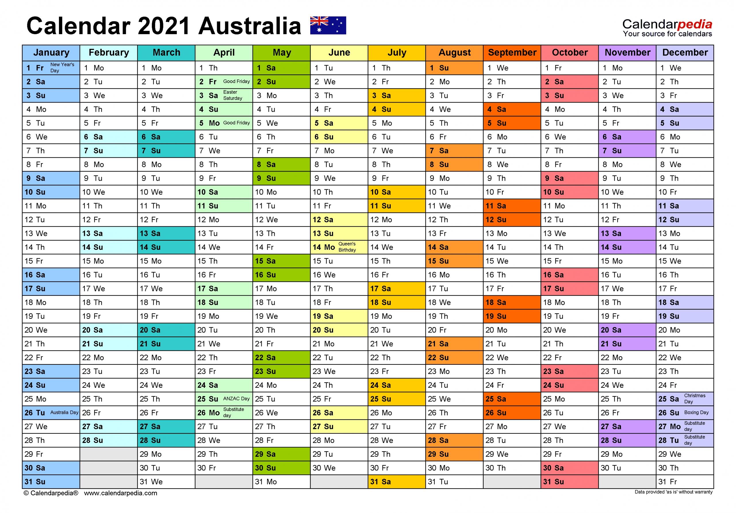 Australia Calendar 2021 - Free Printable Excel Templates  2021 Financial Year Dates Australia