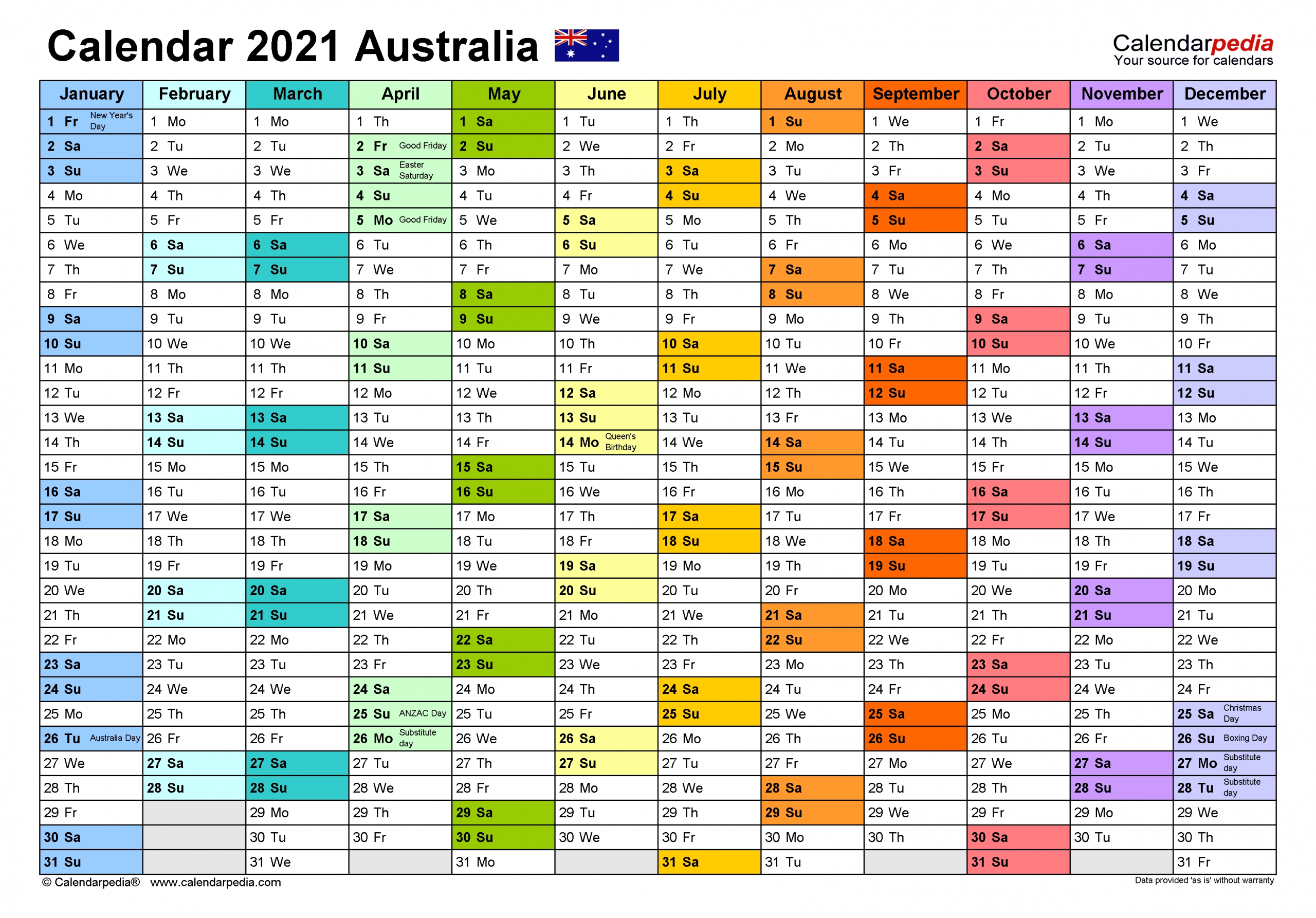 Australia Calendar 2021 - Free Printable Pdf Templates  2021 Calendar Printable Free A3