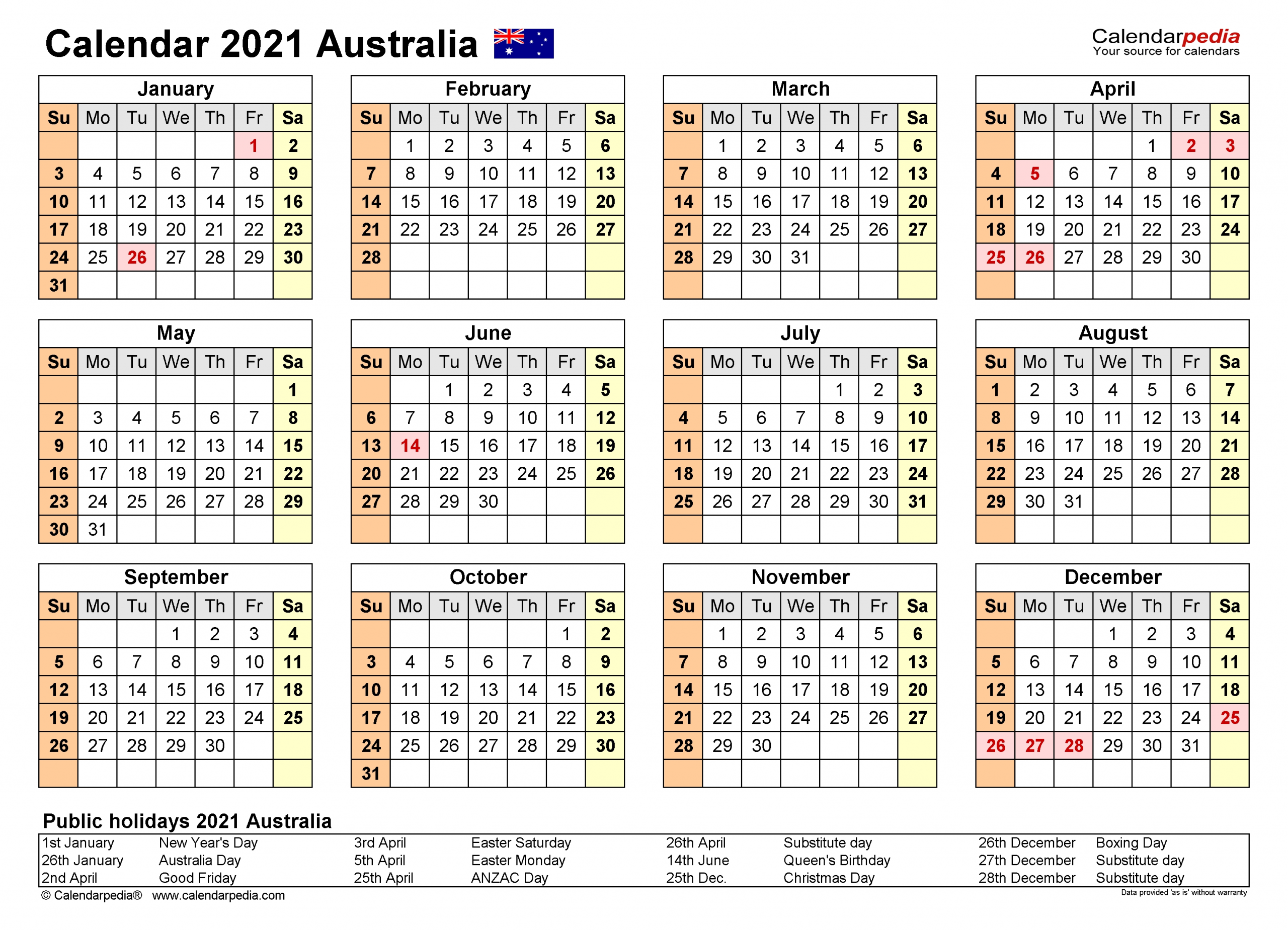Australia Calendar 2021 - Free Printable Pdf Templates  Financial Year Calendar 2021 Australia