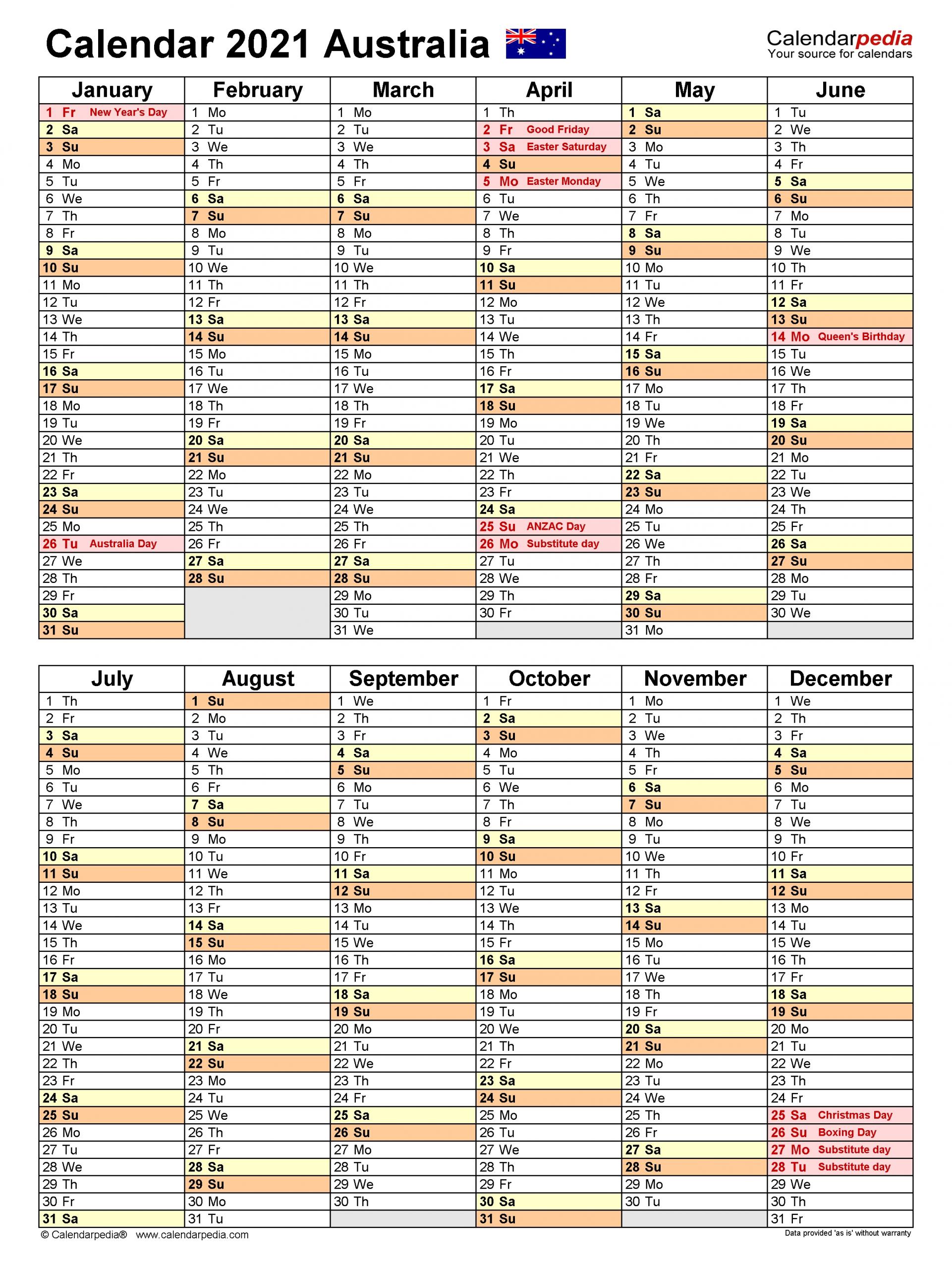Australia Calendar 2021 - Free Printable Word Templates  2021 2021 Financial Calendar Australia
