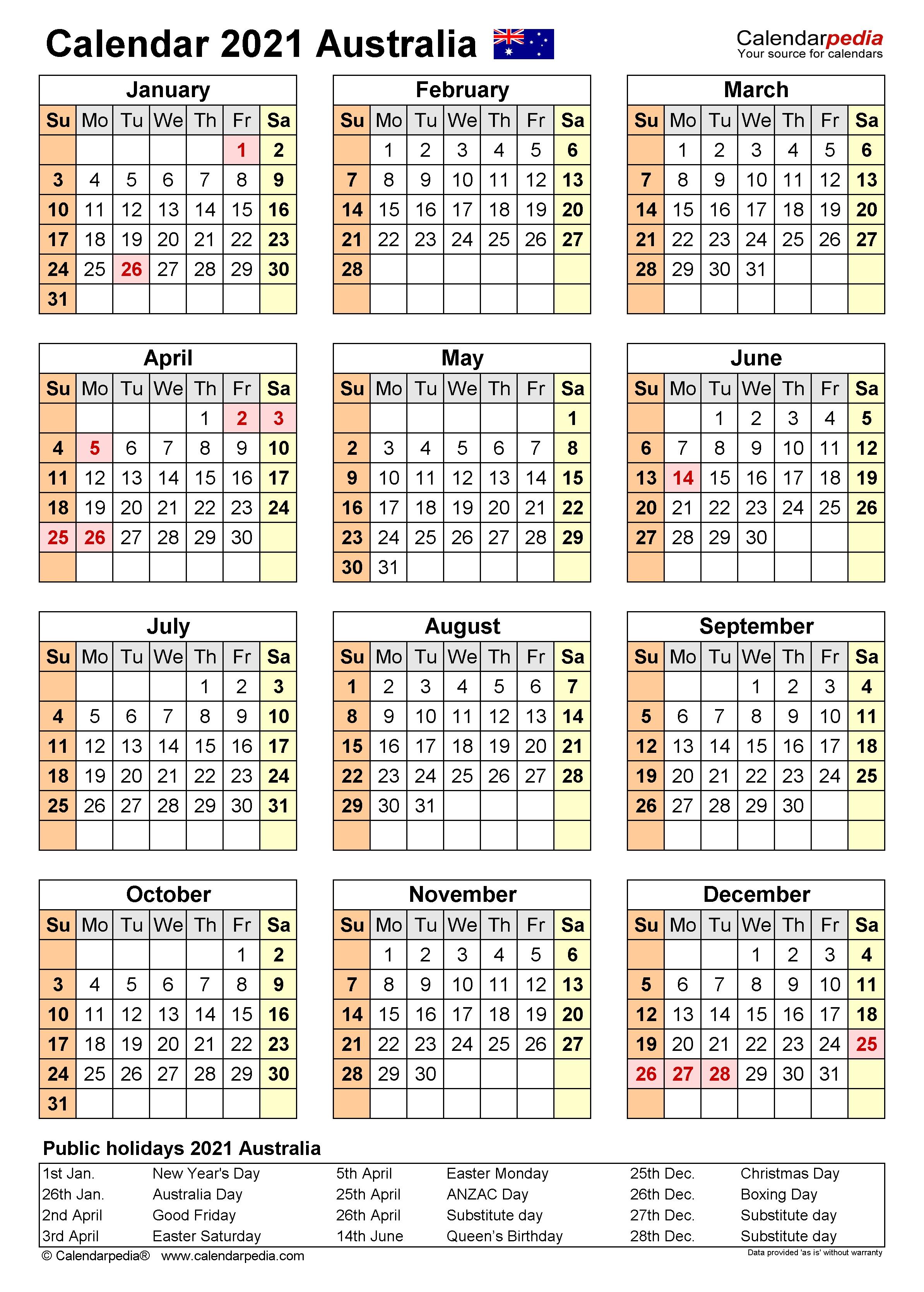 Australia Calendar 2021 - Free Printable Word Templates  Financial Years Dates Australia