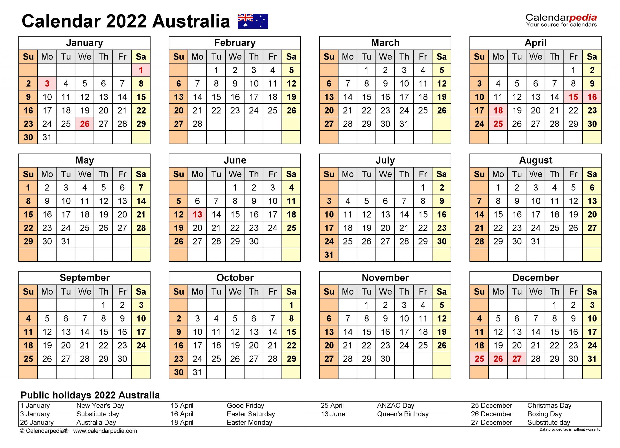 Australia Calendar 2022 - Free Printable Pdf Templates  18 19 Financial Year Dates Australia