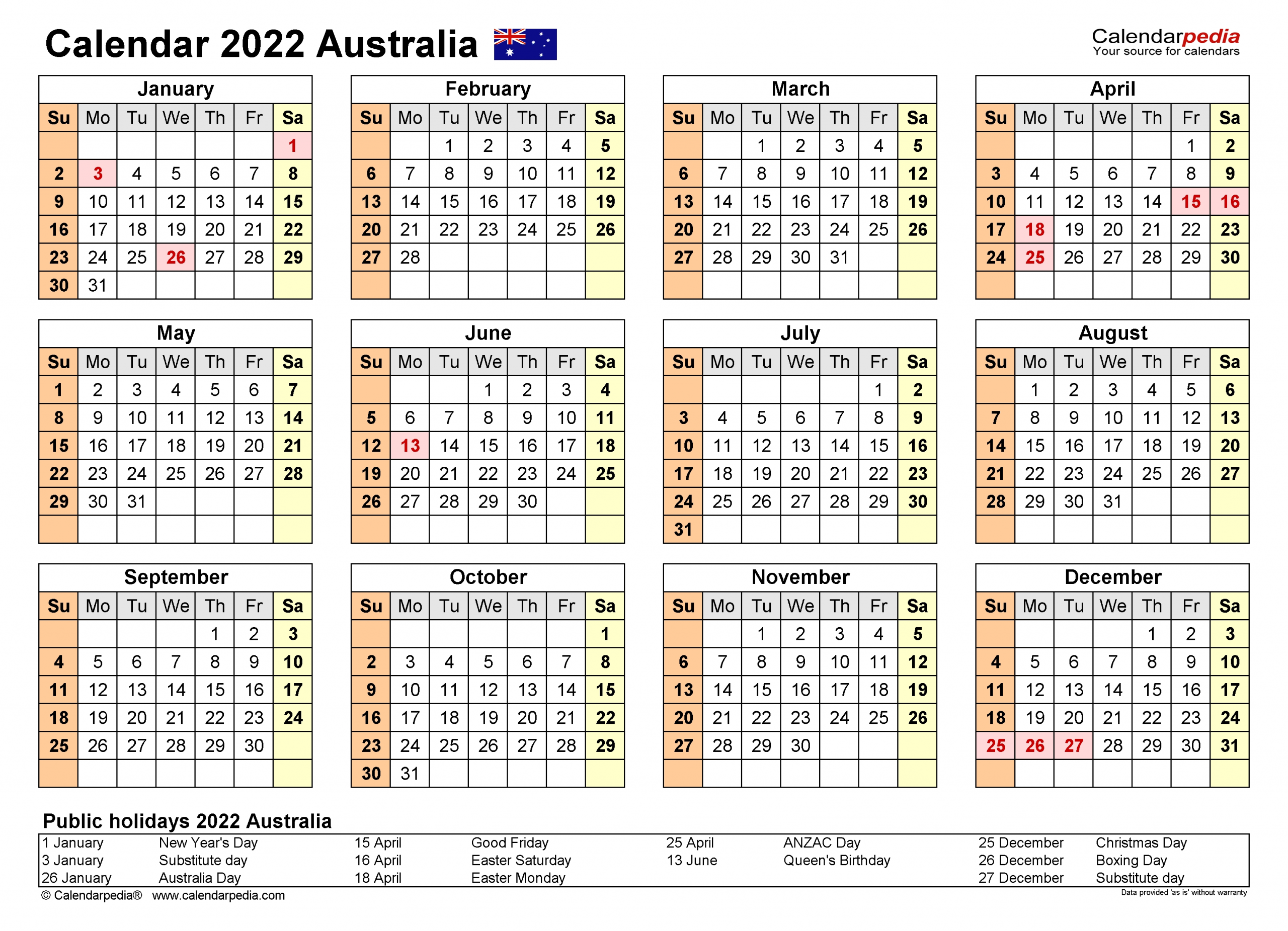 Australia Calendar 2022 - Free Printable Pdf Templates  Australia What Are The Dates For The 18/19 Financial Year