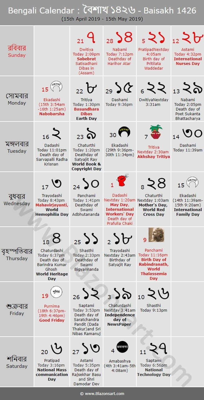 Bengali Calendar - Baisakh 1426 : বাংলা  Calender Bangla 1426