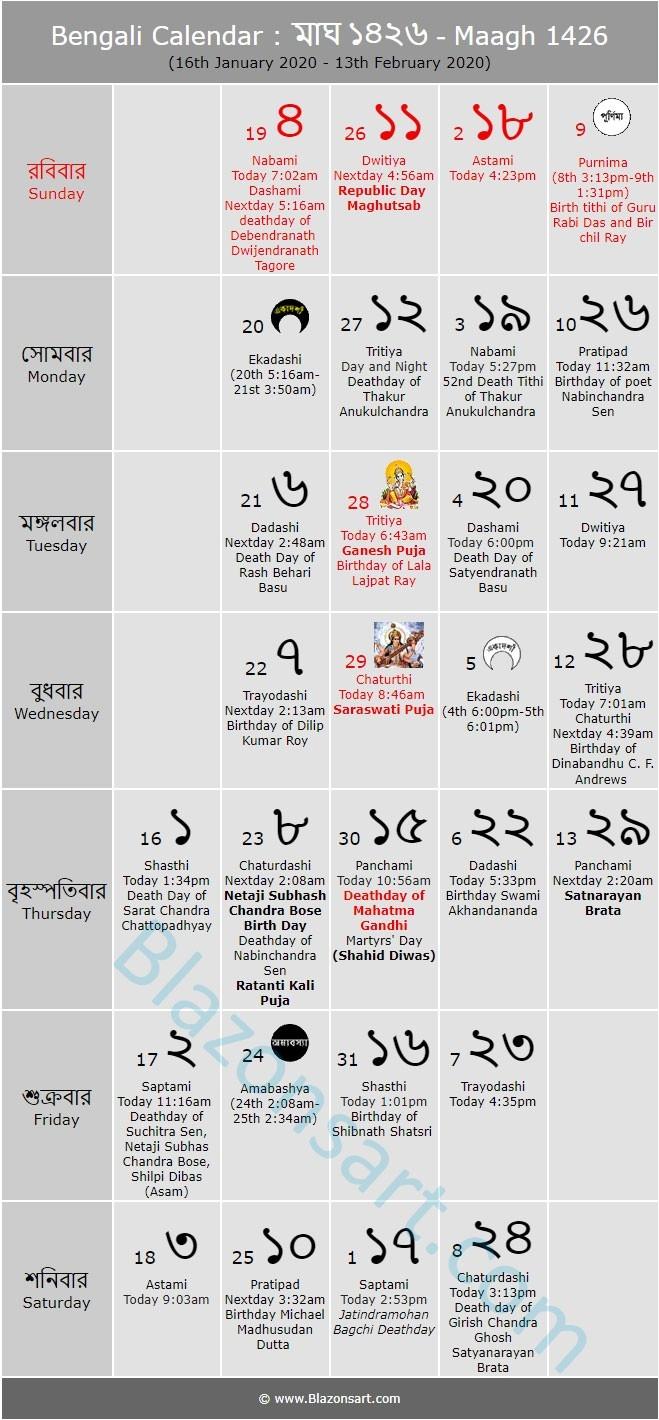 Bengali Calendar - Maagh 1426 : বাংলা  Calender Bangla 1426