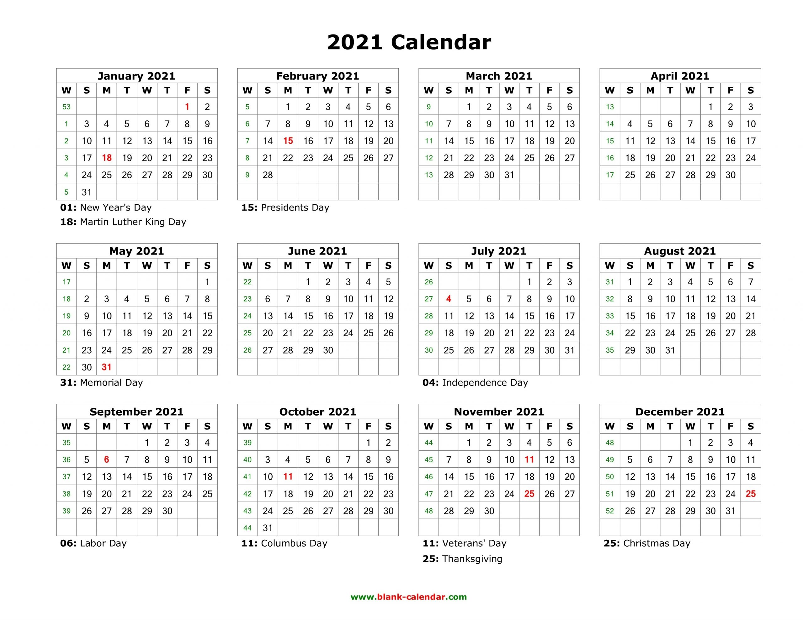 Blank Calendar 2021 | Free Download Calendar Templates  Free Printable Editable Calendars 2021
