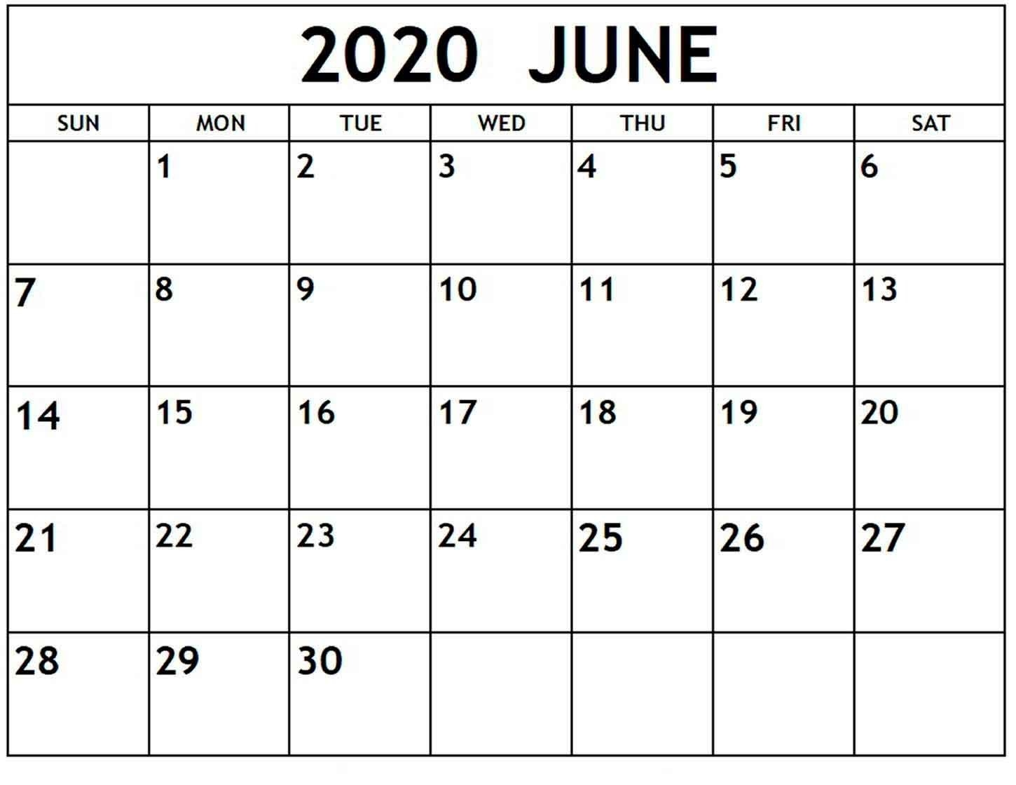 Blank Calendar June 2020 - Free Printable Monthly Calendars  Blank June Calendar 2020