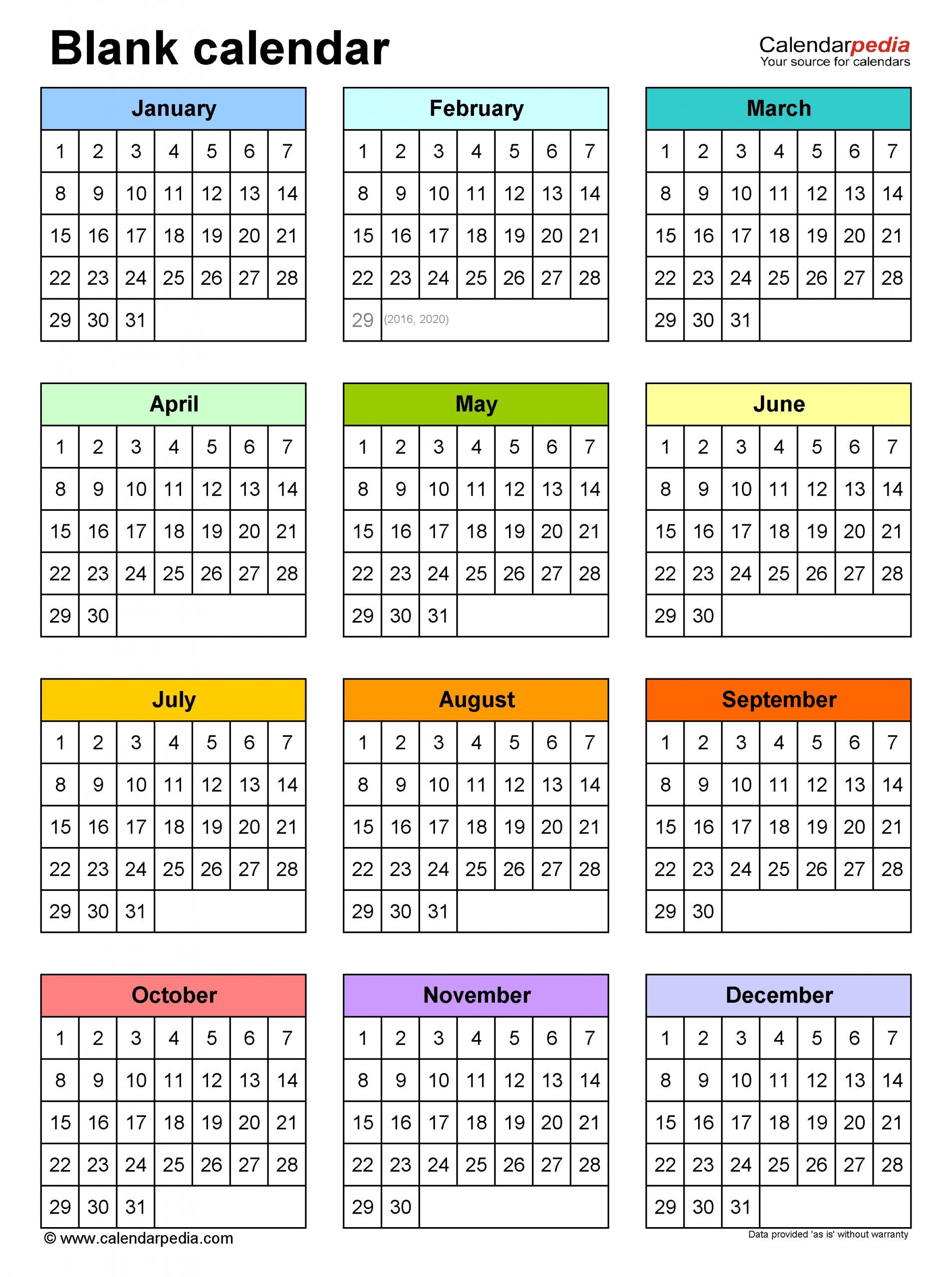 Blank Calendars - Free Printable Microsoft Word Templates  6 Month Calendar Template Word