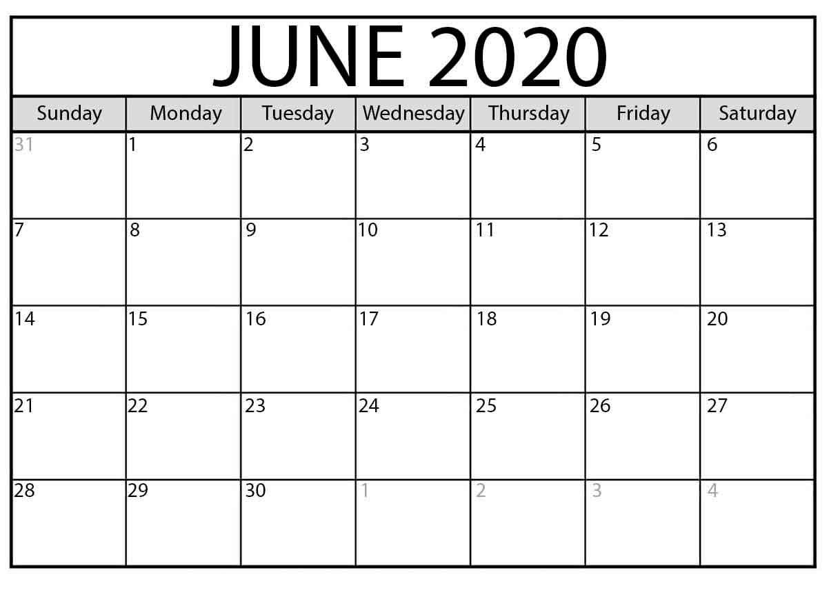 Blank June 2020 Calendar Free Latest Calendar & Holidays.  Blank June Calendar 2020