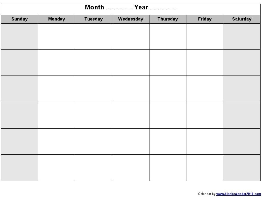 Blank Monthly Calendar 2014 Printable | Blank Monthly  Calendar Month To Month Print