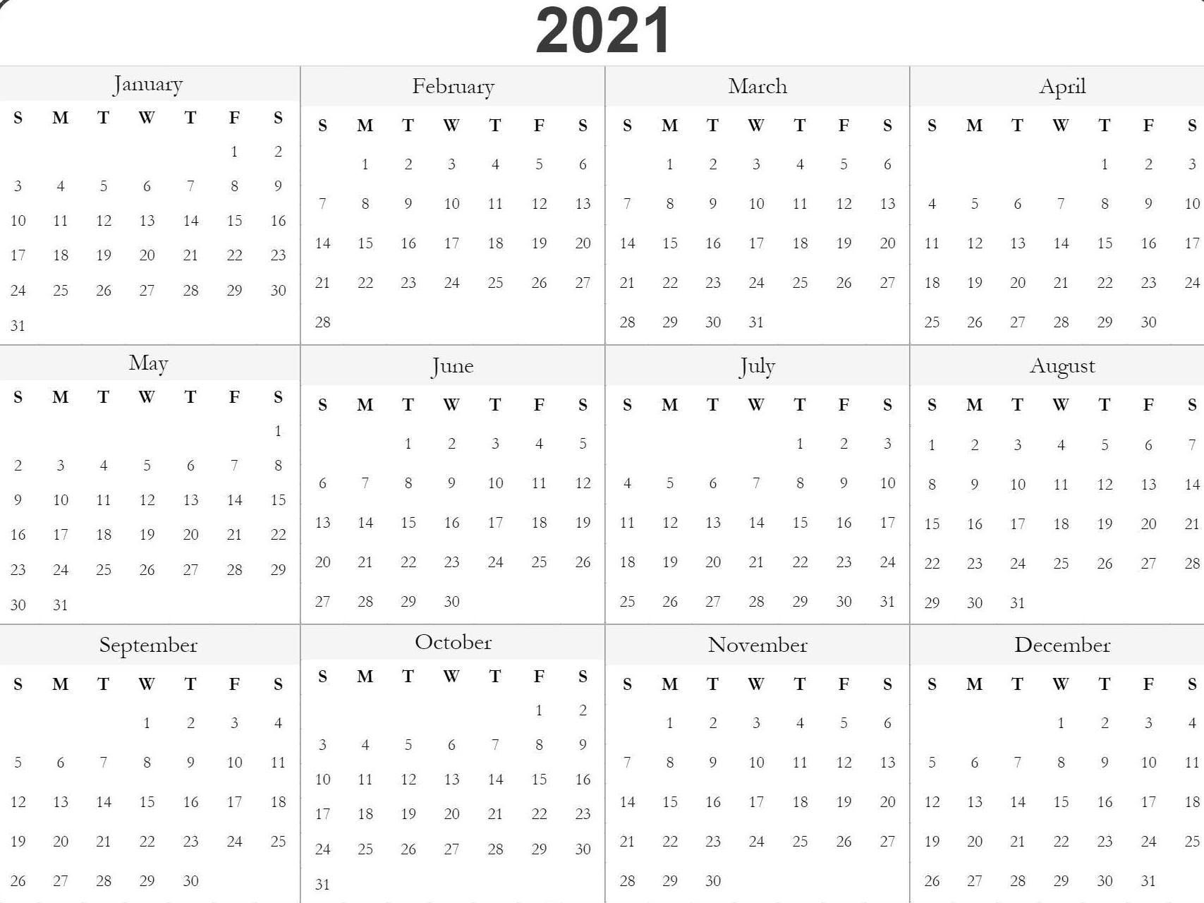 Blank Printable 2021 Calendar Template | Free Printable  2021 Yearly Calendar Free Pdf Printable